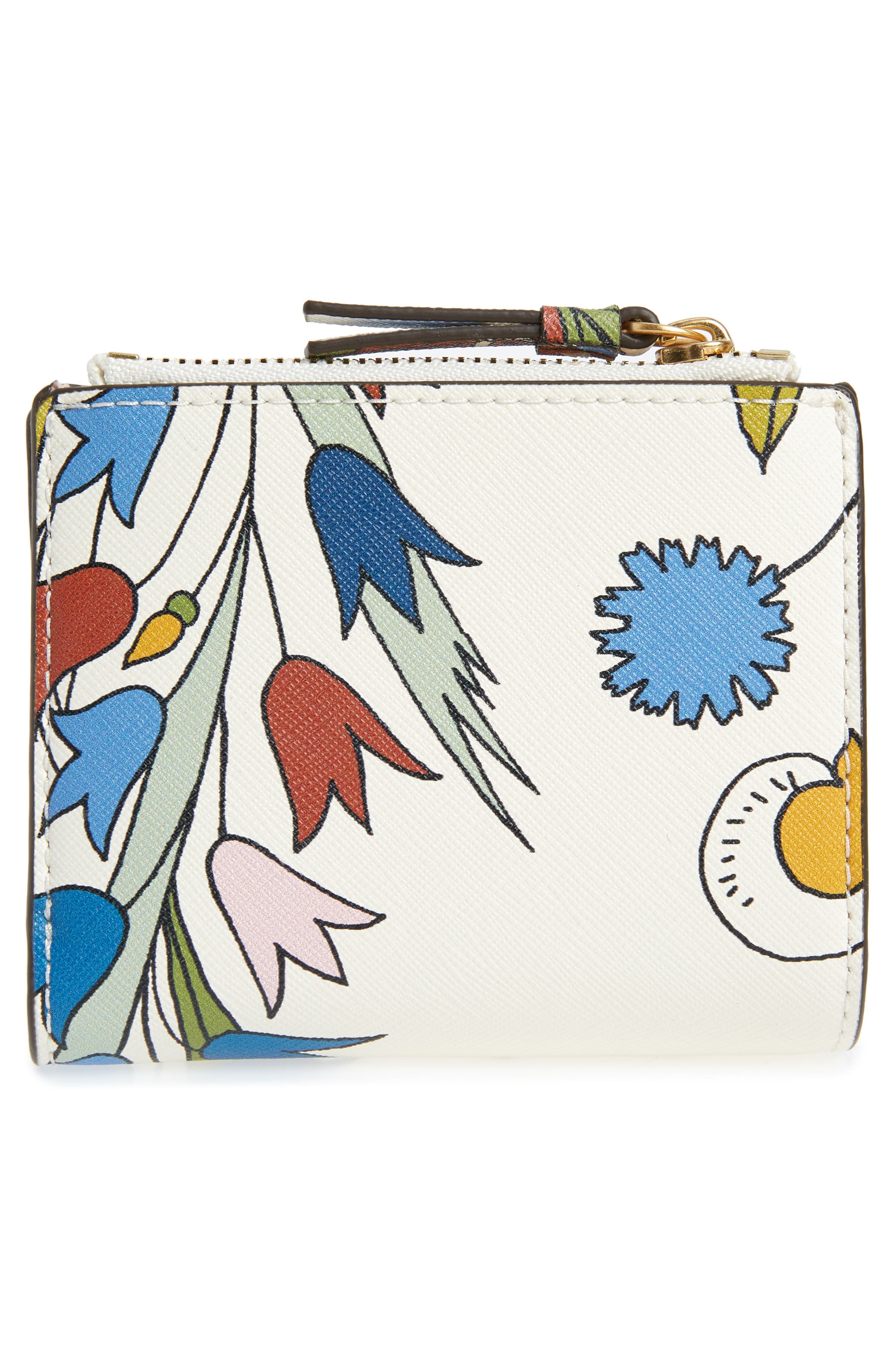 Mini Robinson Floral Leather Wallet,                             Alternate thumbnail 4, color,                             IVORY MEADOW SWEET