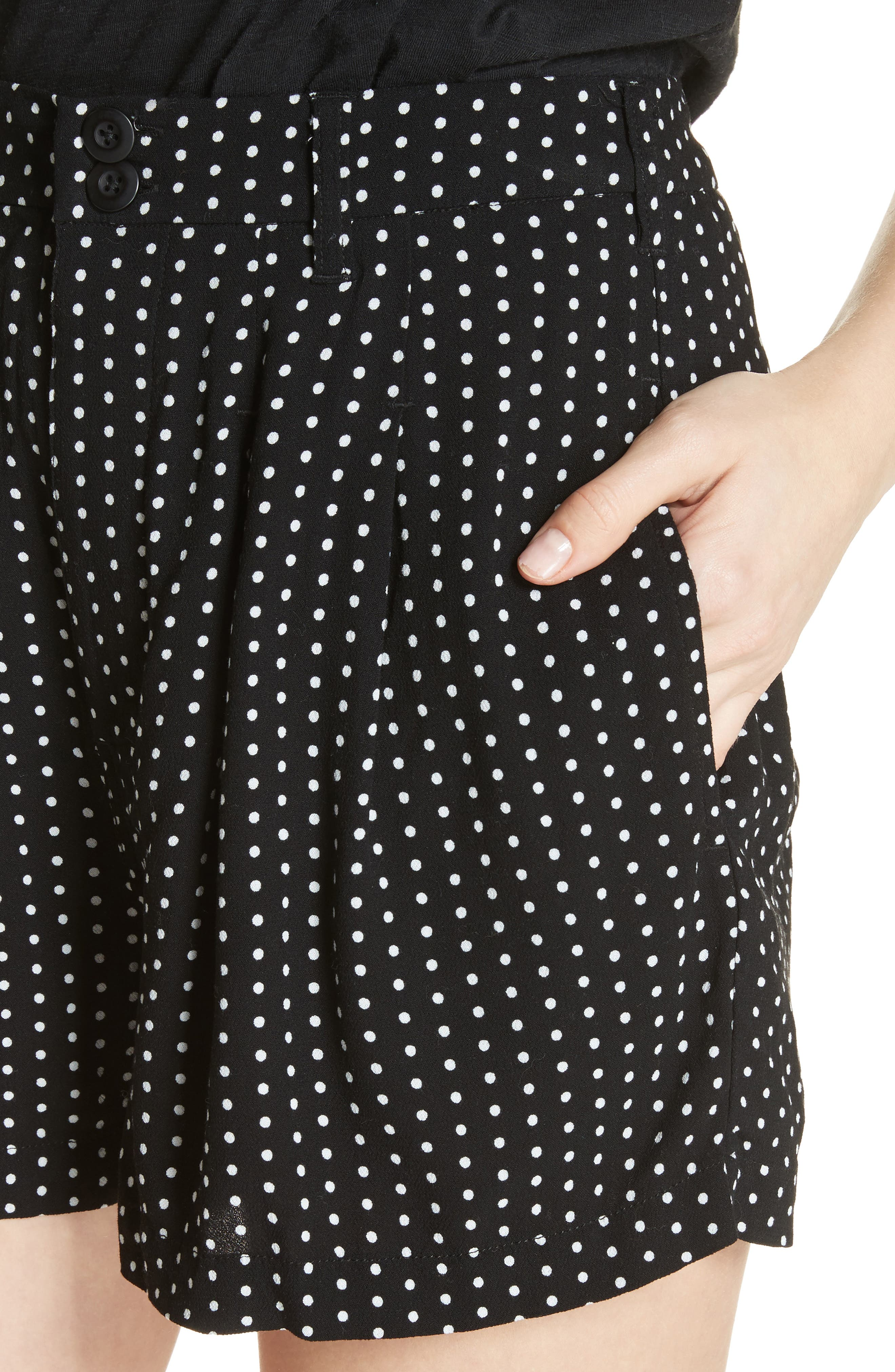 Magdalene Polka Dot Pleated Shorts,                             Alternate thumbnail 4, color,                             001