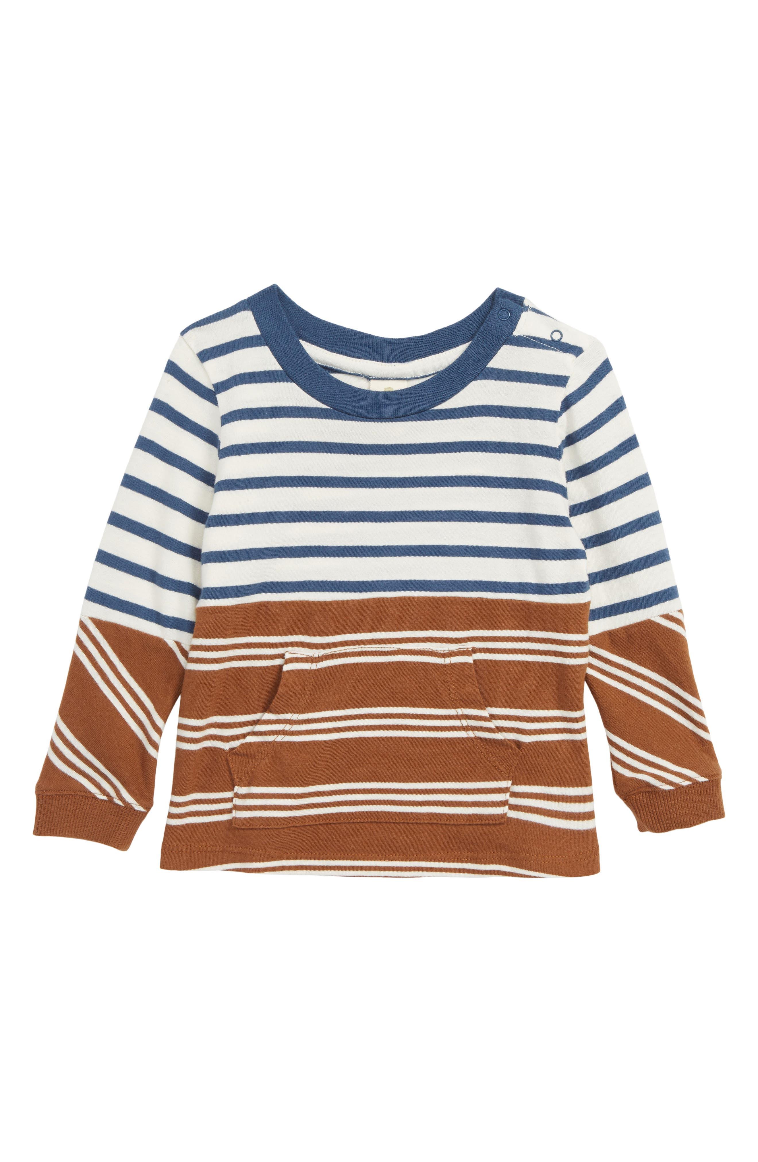 Pieced Stripe Shirt, Main, color, IVORY EGRET- BROWN STRIPE