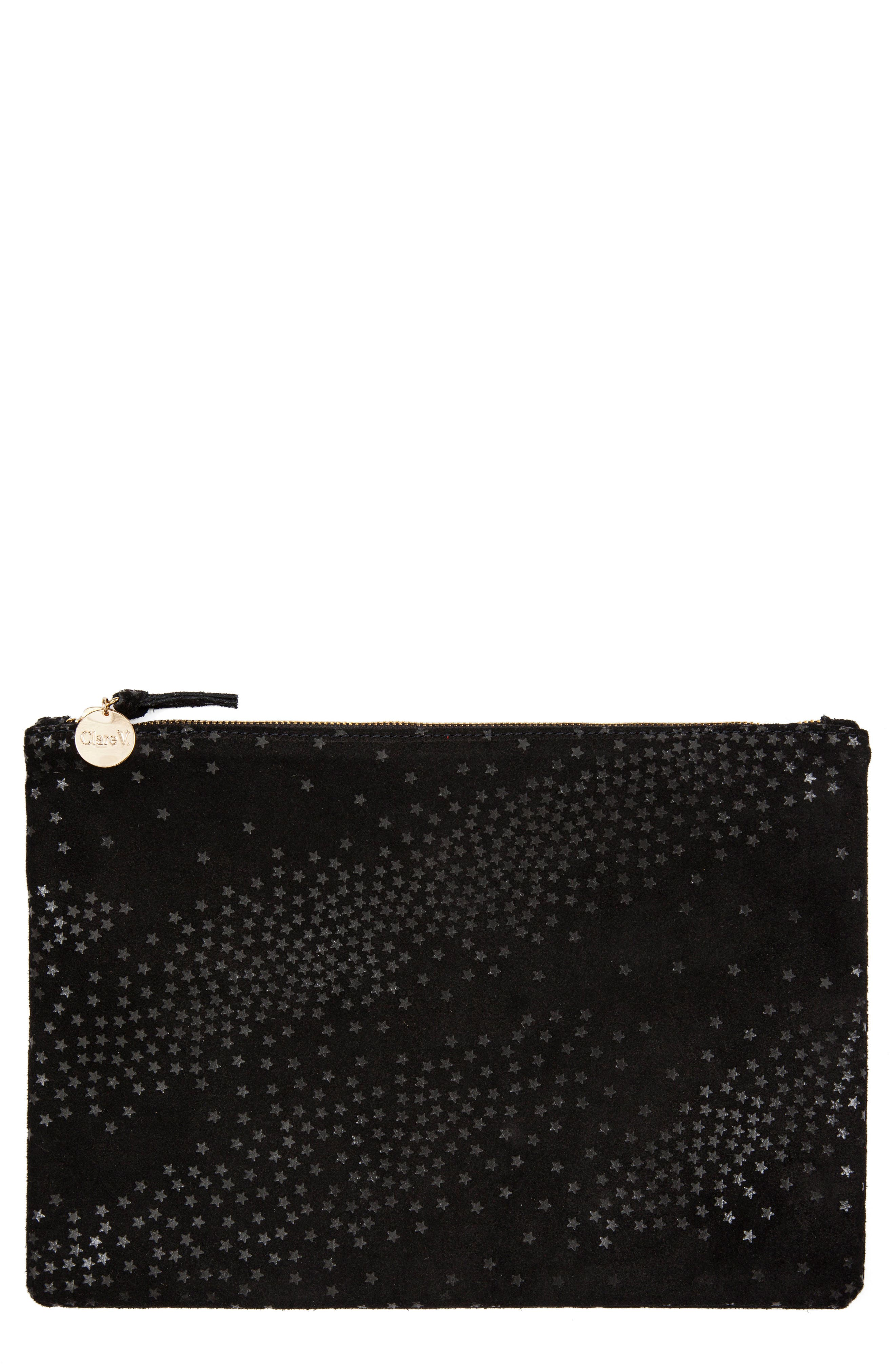 Star Suede Clutch,                             Main thumbnail 1, color,                             001