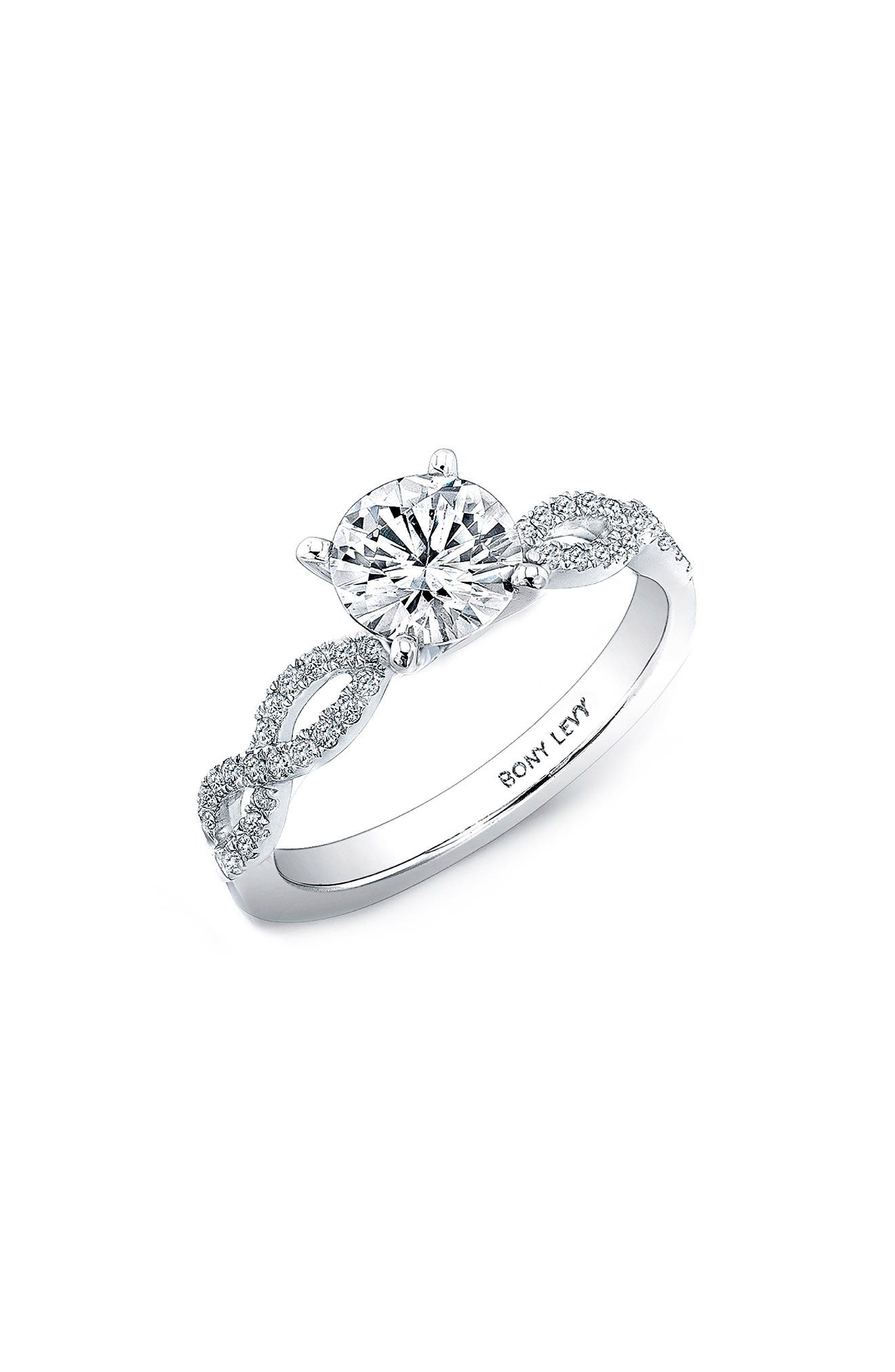 Twist Pavé Round Engagement Ring Setting,                             Main thumbnail 1, color,                             WHITE GOLD