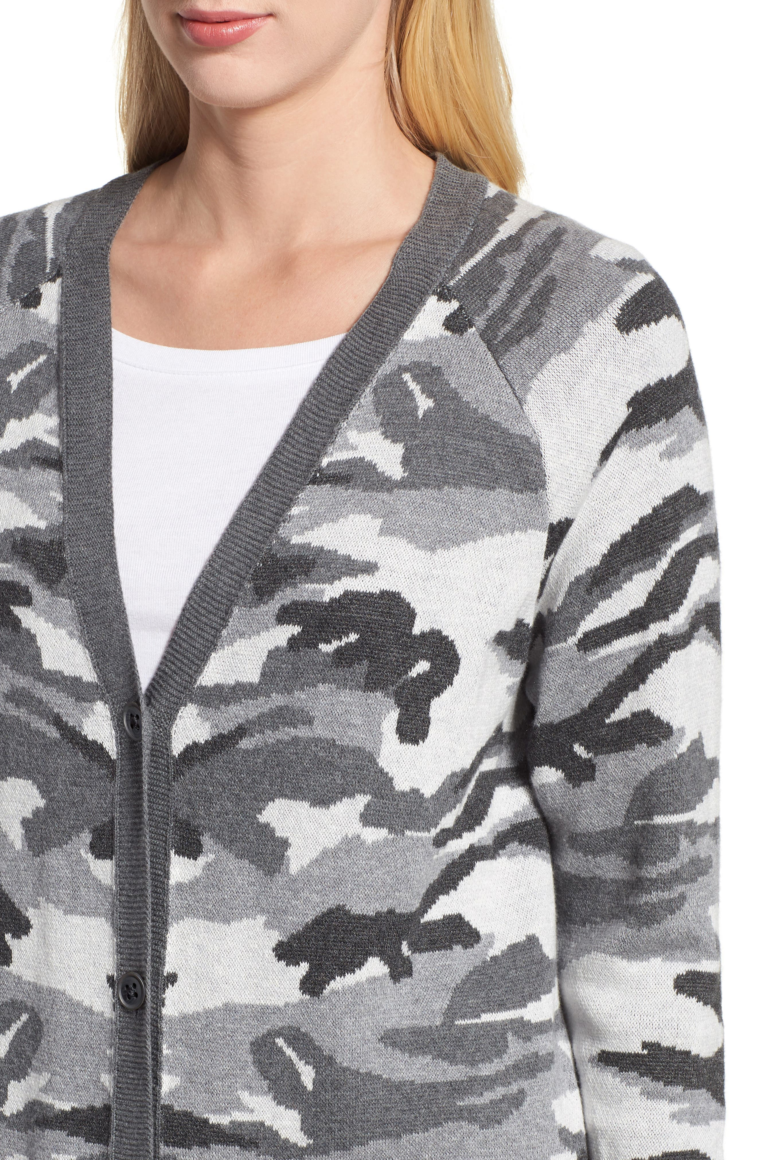 Button Front Camo Cardigan,                             Alternate thumbnail 4, color,                             026
