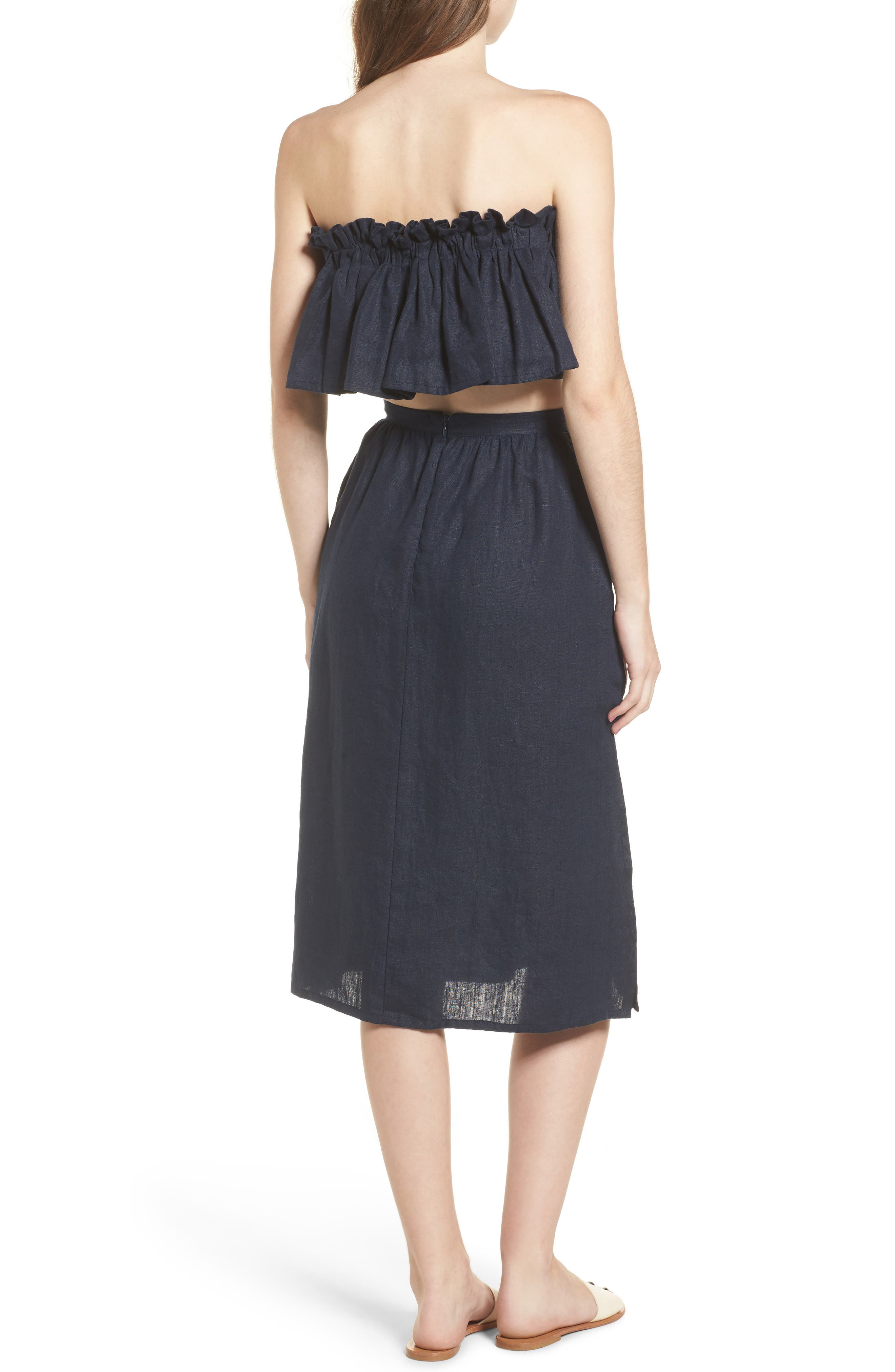 Seine Linen Midi Skirt,                             Alternate thumbnail 8, color,                             400