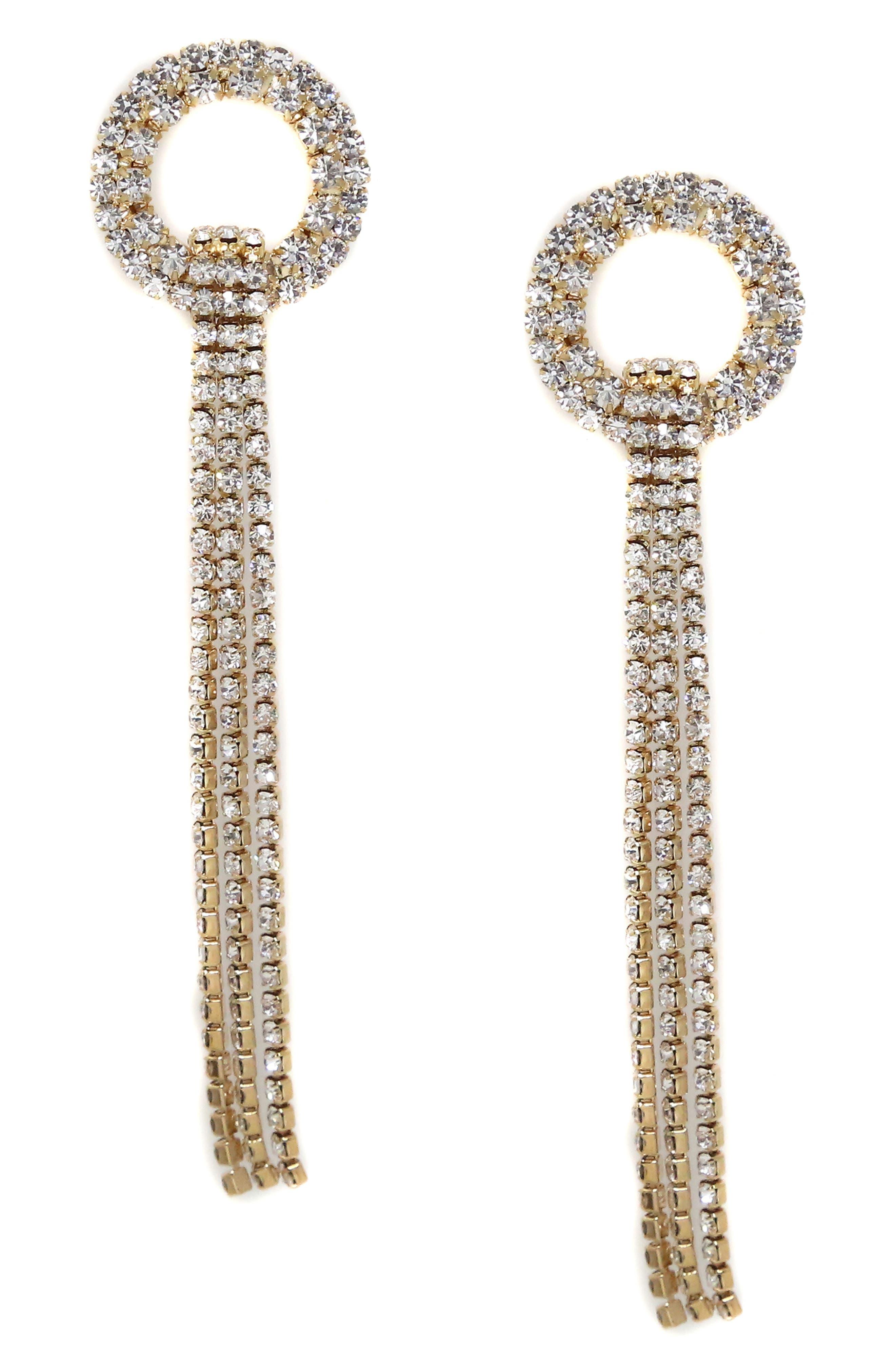 ETTIKA Crystal Ring & Fringe Drop Earrings in Gold