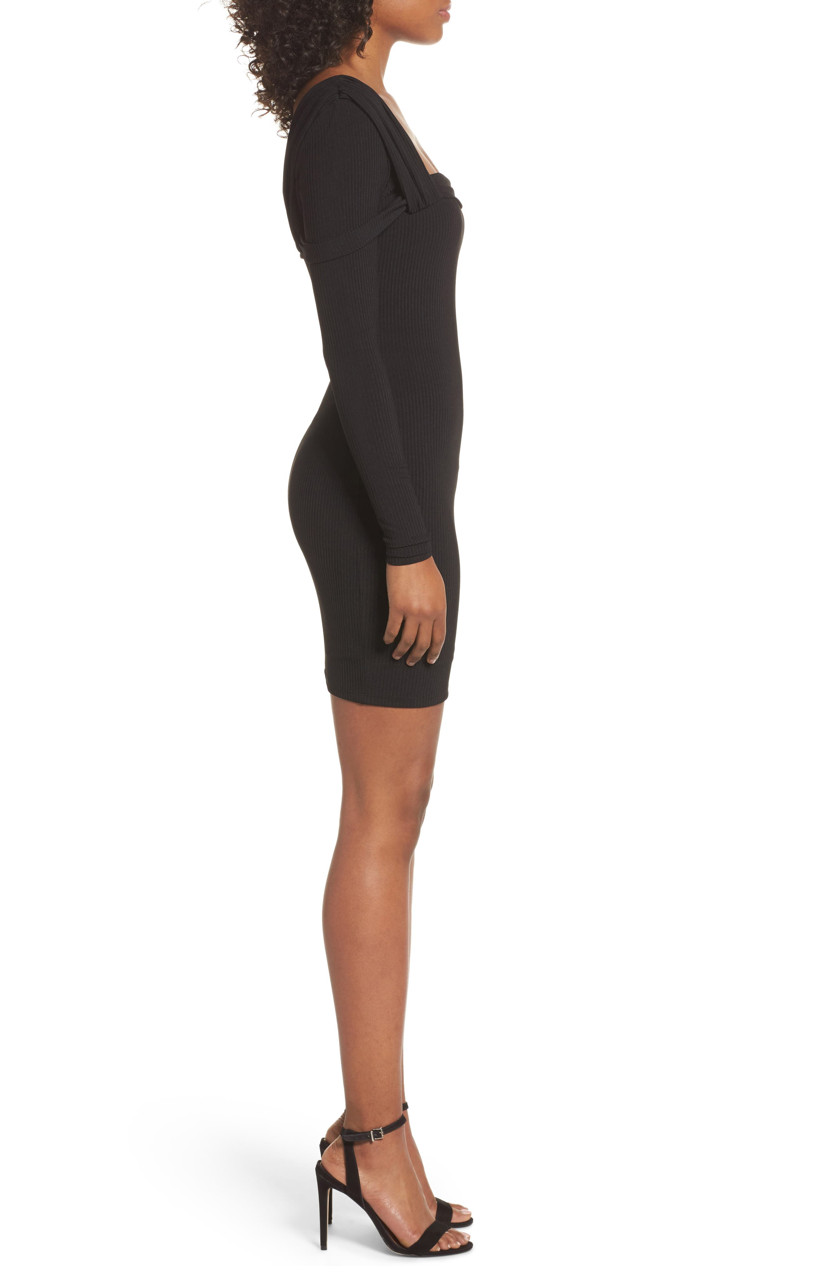 One-Shoulder Body-Con Dress,                             Alternate thumbnail 3, color,                             001