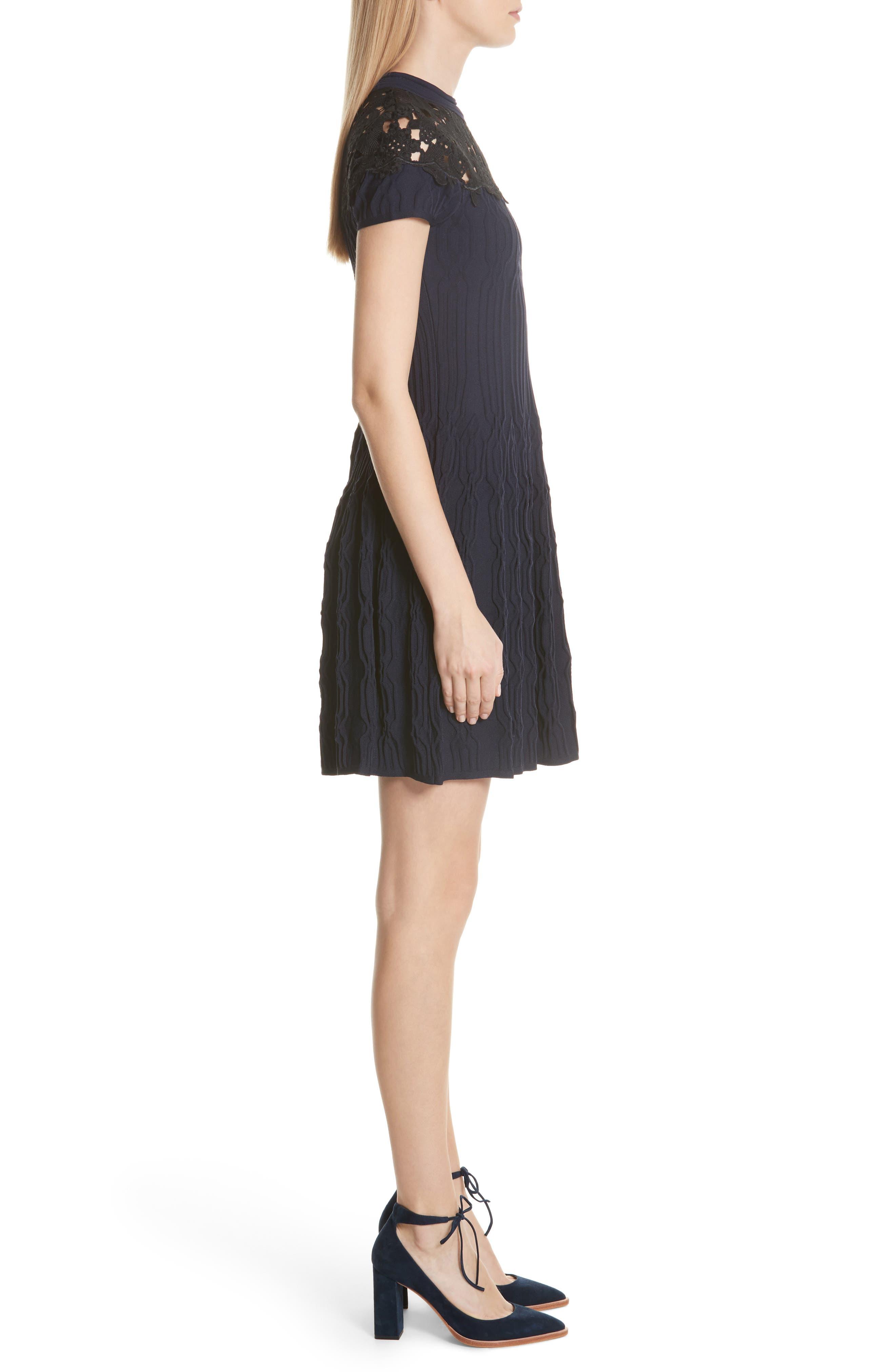 Lace Yoke Dress,                             Alternate thumbnail 3, color,                             400