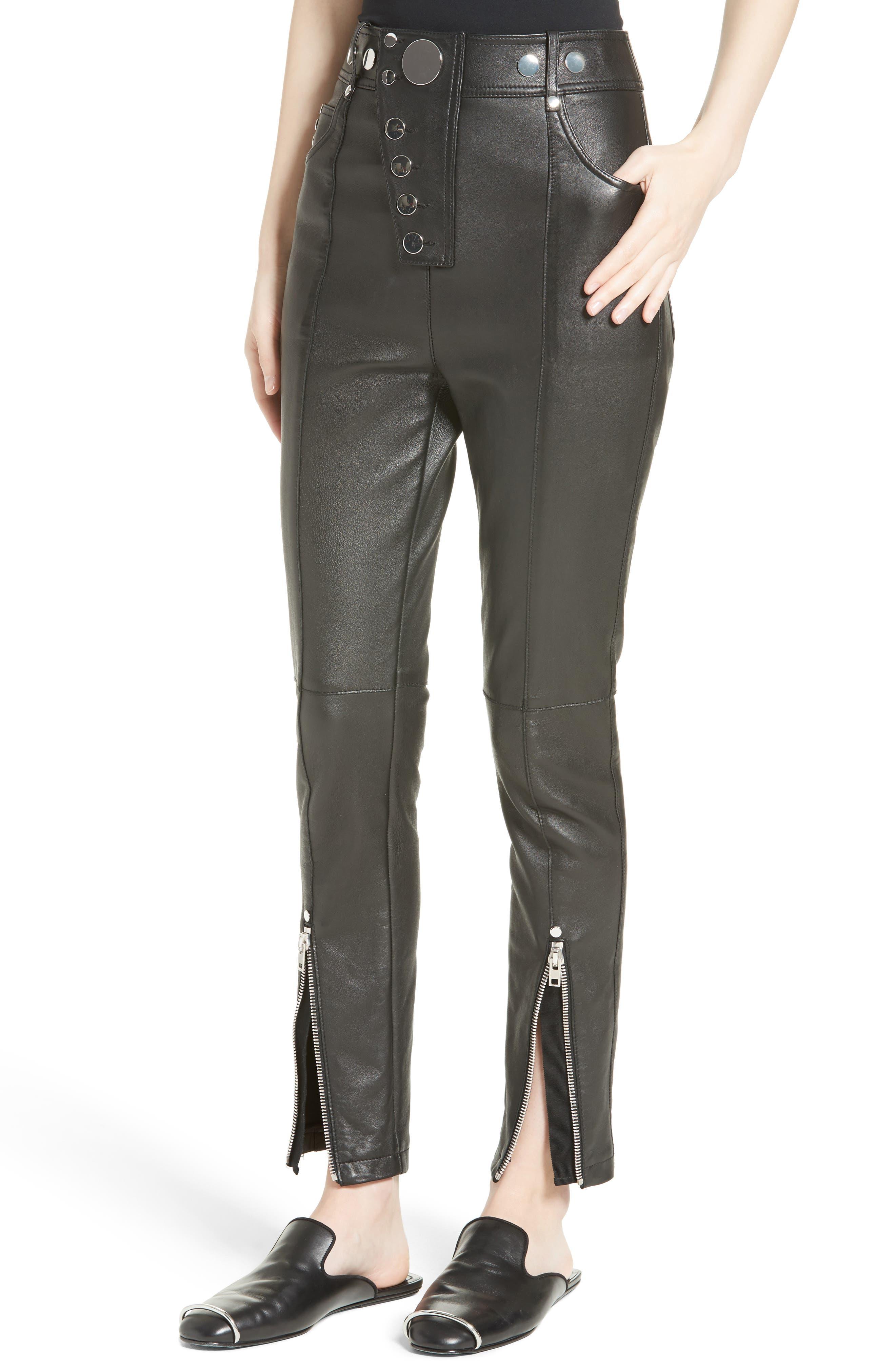 High Waist Leather Pants,                             Alternate thumbnail 4, color,                             001