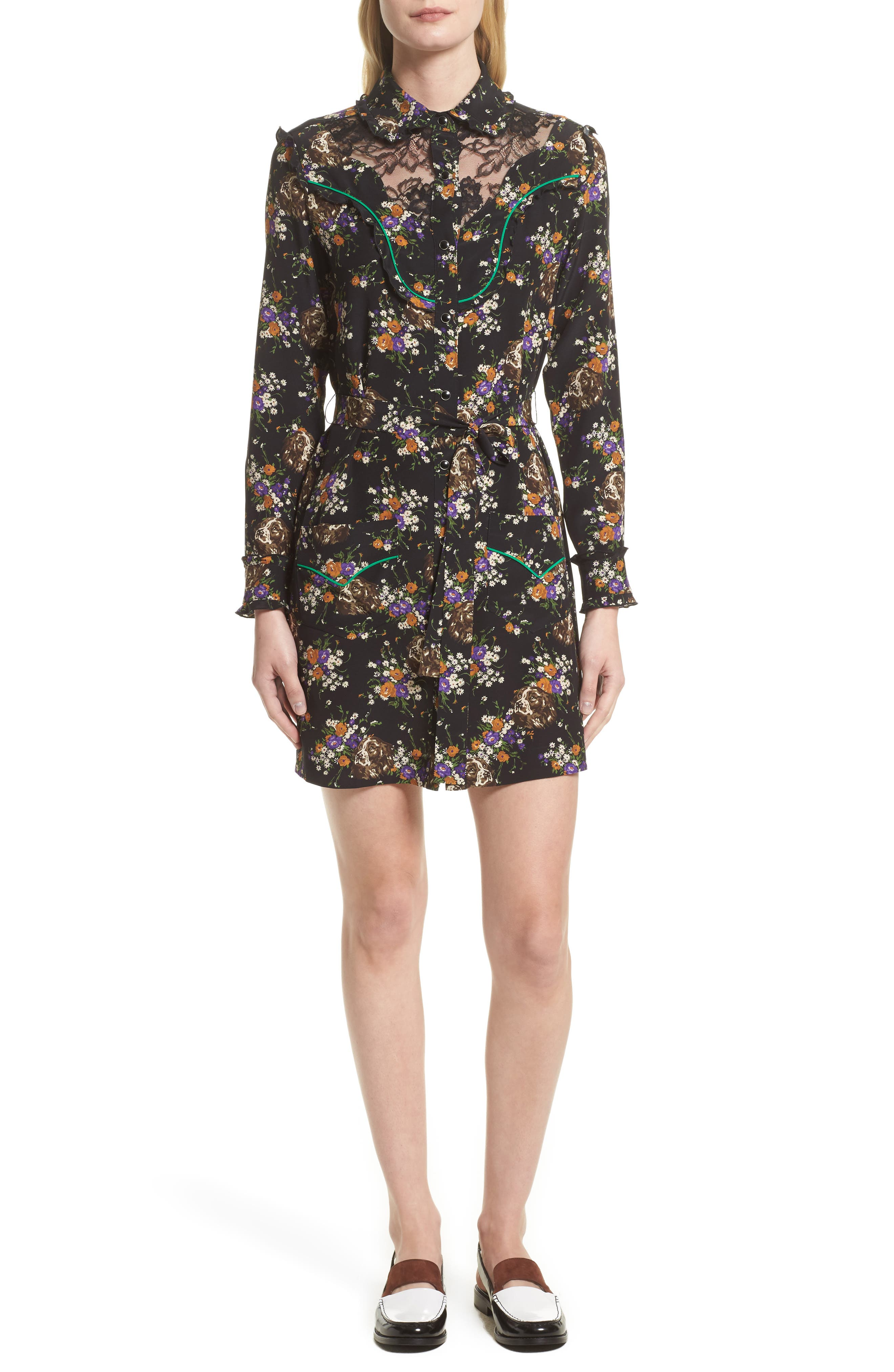 Western Lace & Silk Shirtdress,                             Main thumbnail 1, color,                             013