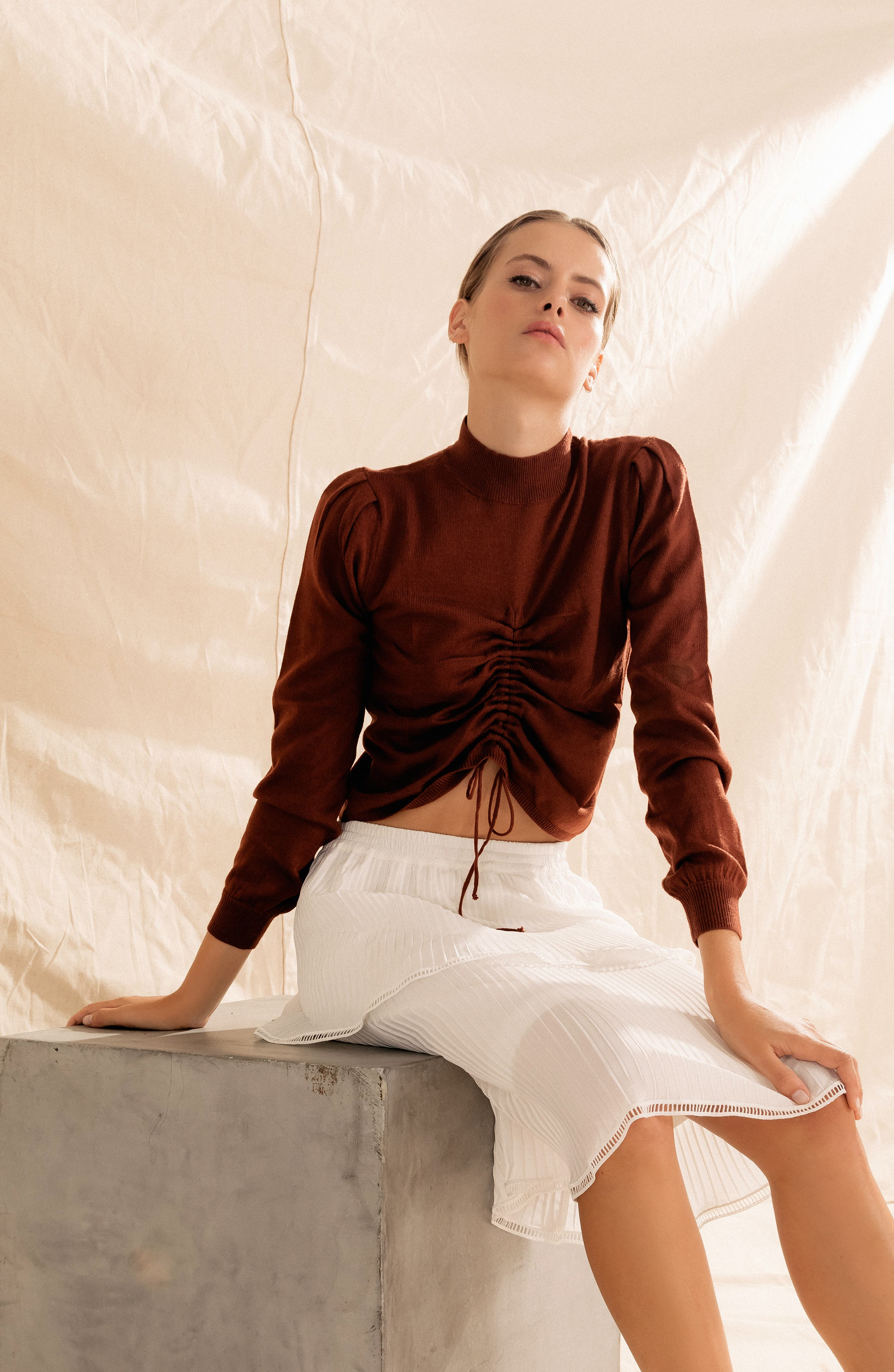 Chriselle Lim Madison Ruched Sweater,                             Alternate thumbnail 2, color,                             RUST