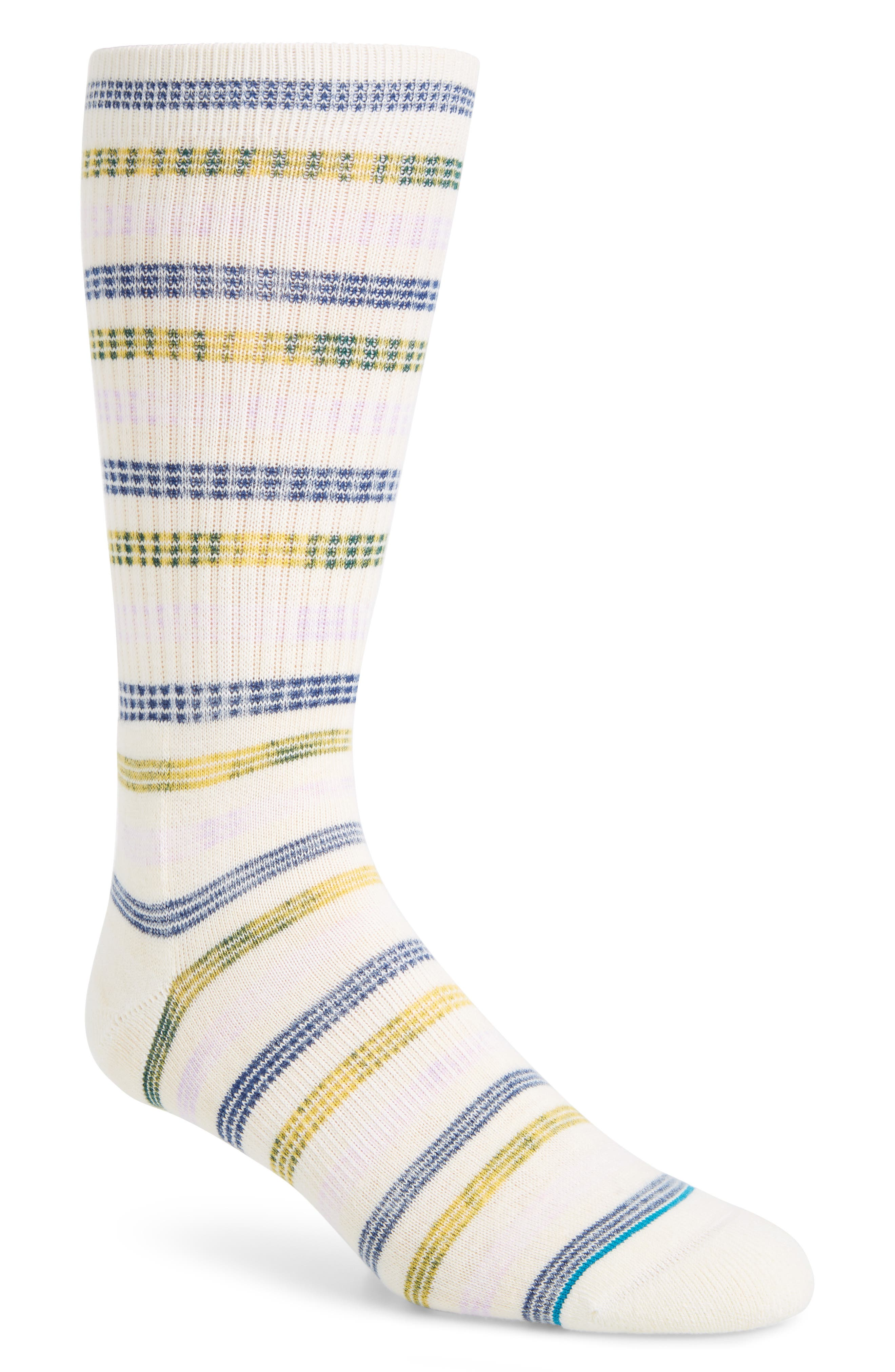 Somme Stripe Socks,                         Main,                         color, WHITE