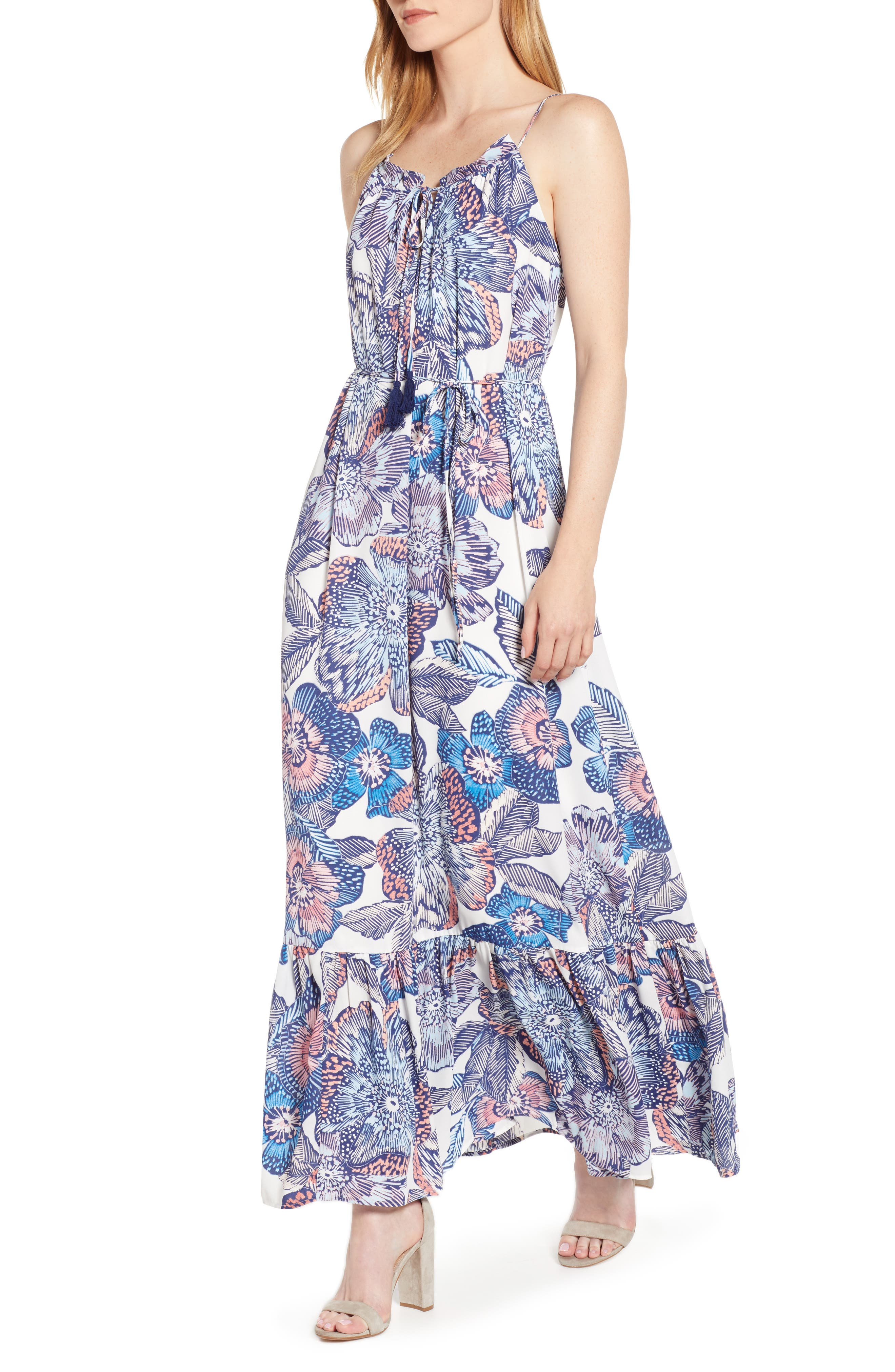 1.state Crystal Flowers Print Maxi Dress, White