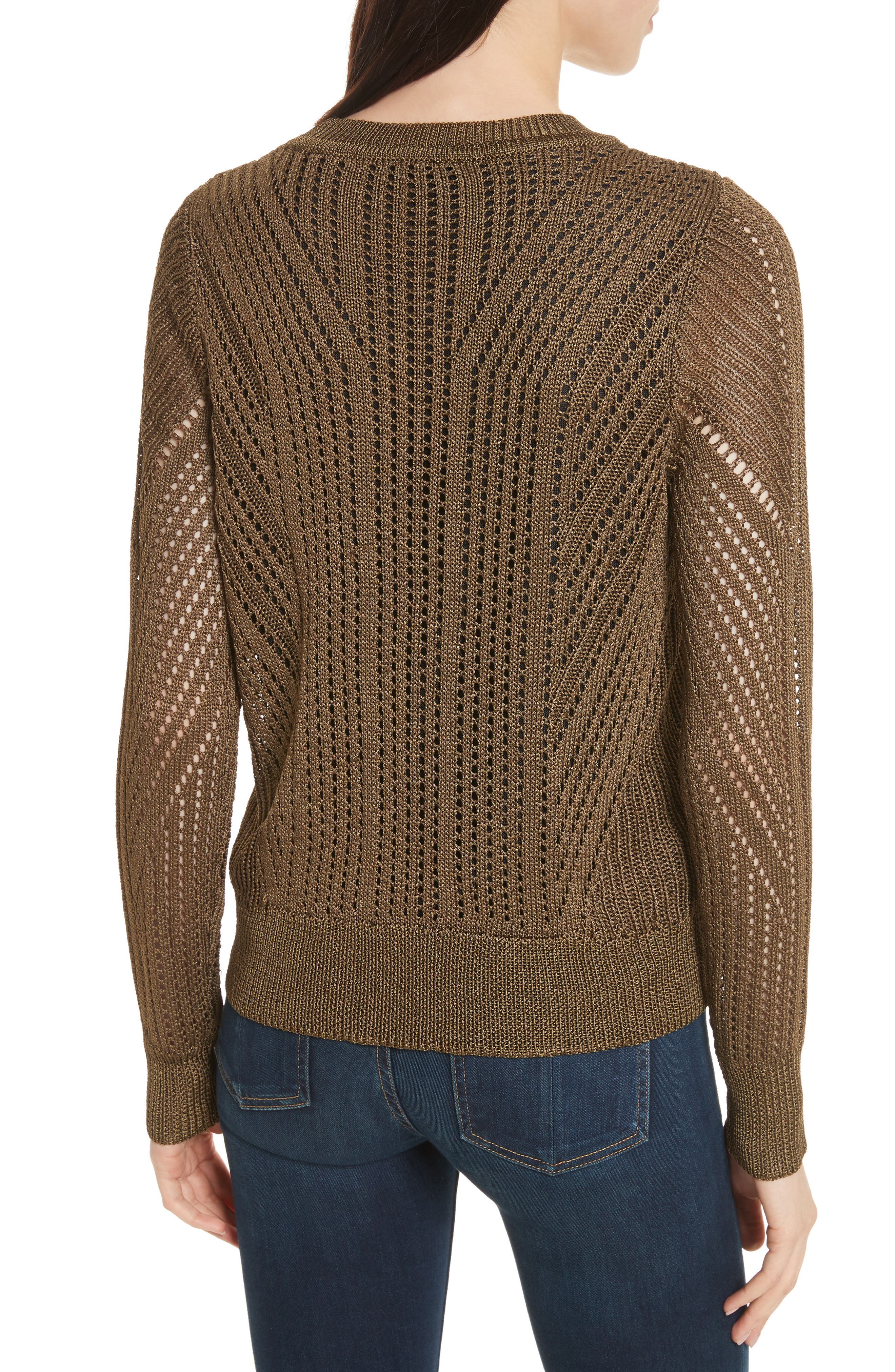 Pamela Crewneck Pointelle Sweater,                             Alternate thumbnail 4, color,