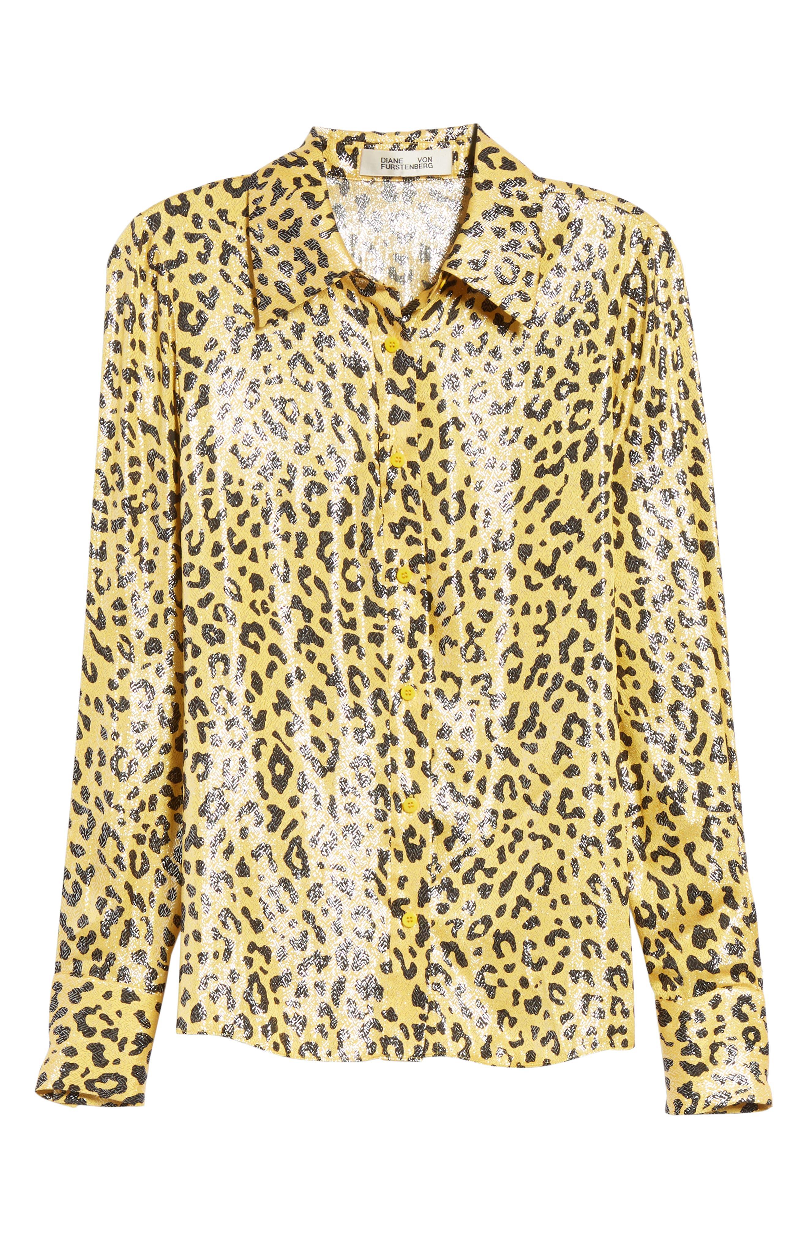 Leopard Print Silk & Metallic Shirt,                             Alternate thumbnail 6, color,                             HEYFORD GO