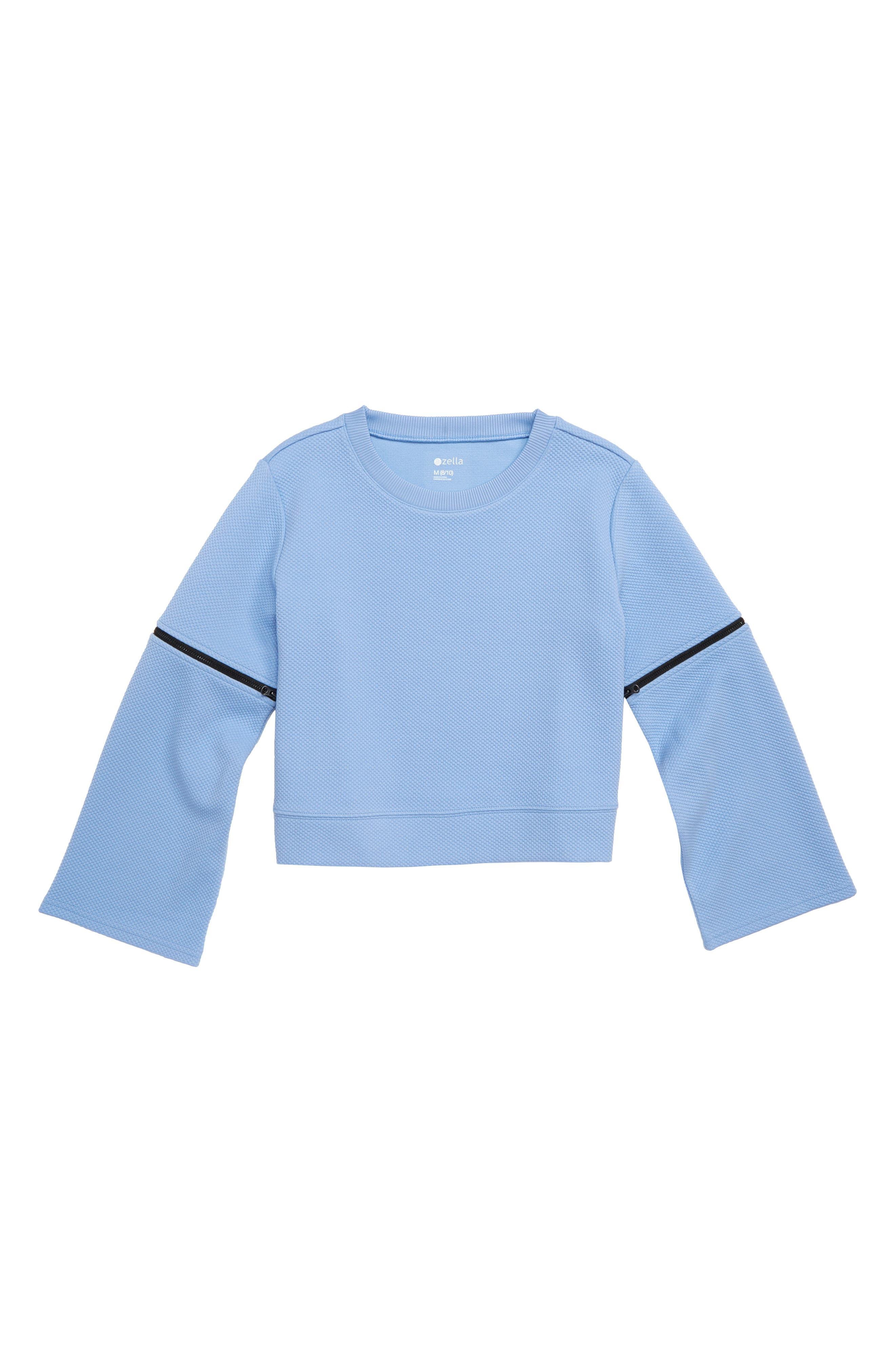 Girls Zella Girl Zip Bell Sleeve Pullover