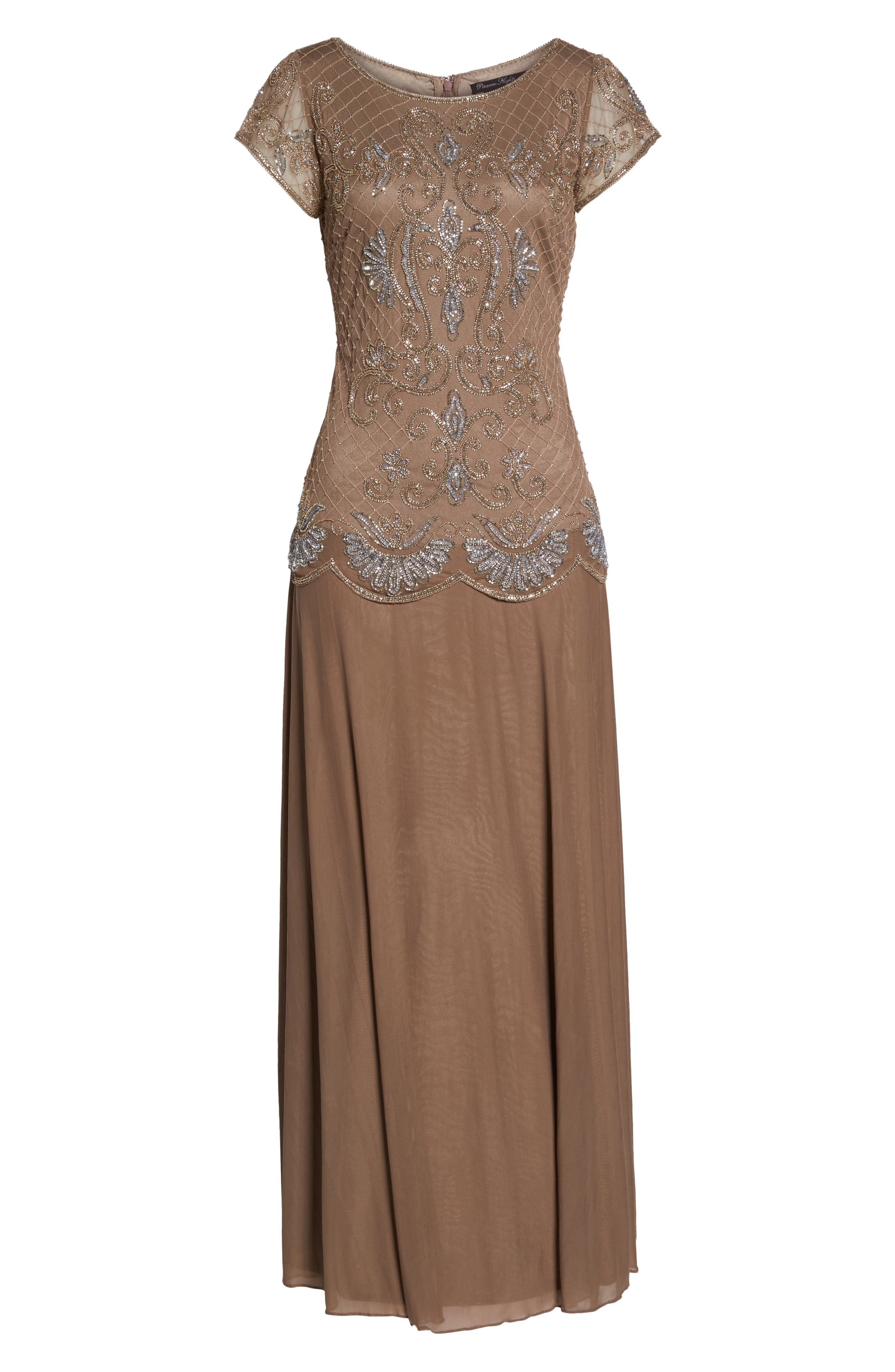 Embellished Mock Two-Piece Gown,                             Alternate thumbnail 6, color,                             230