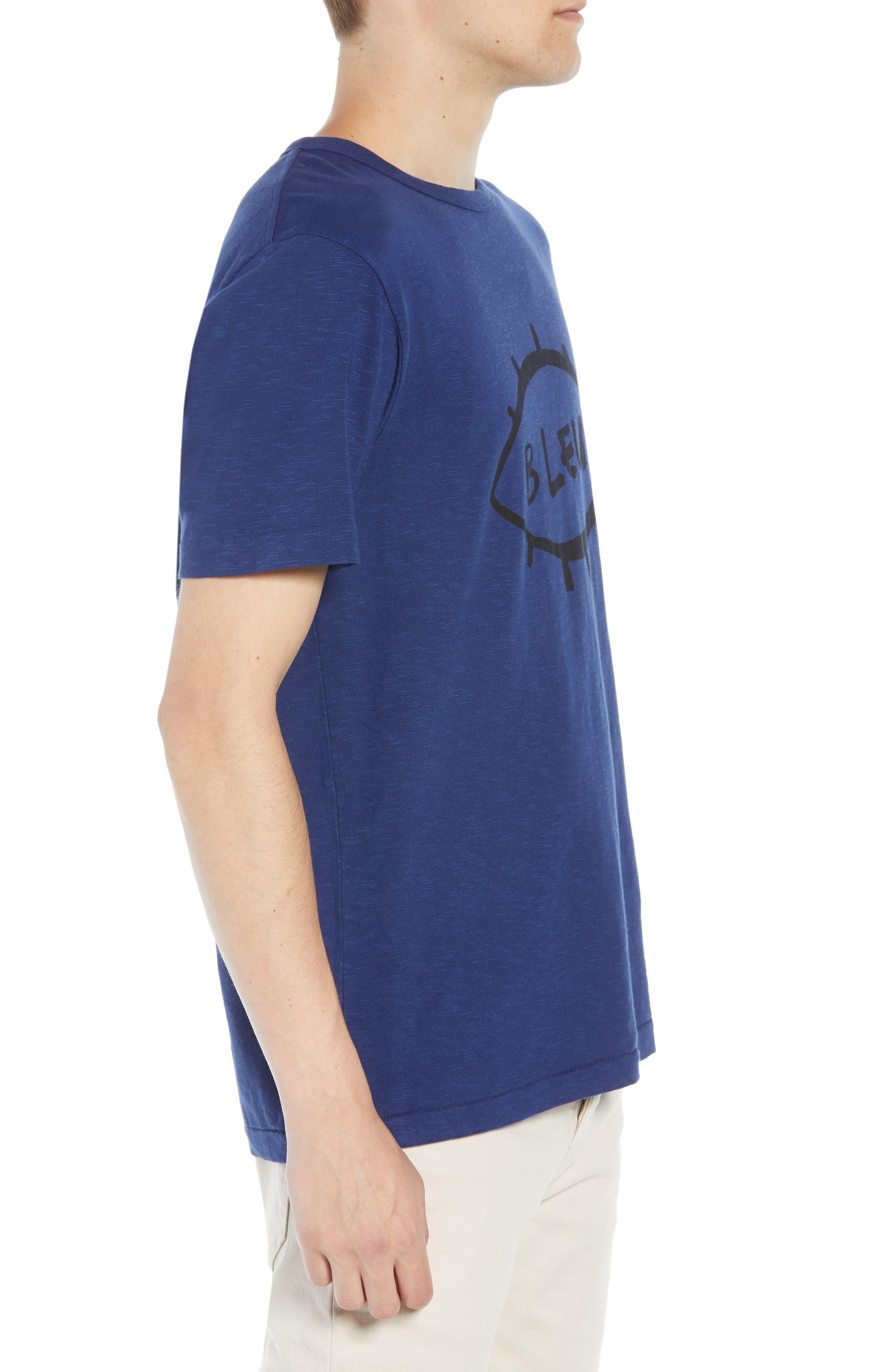 Bleu Slubbed T-Shirt,                             Alternate thumbnail 3, color,                             FATHOM BLUE BLACK