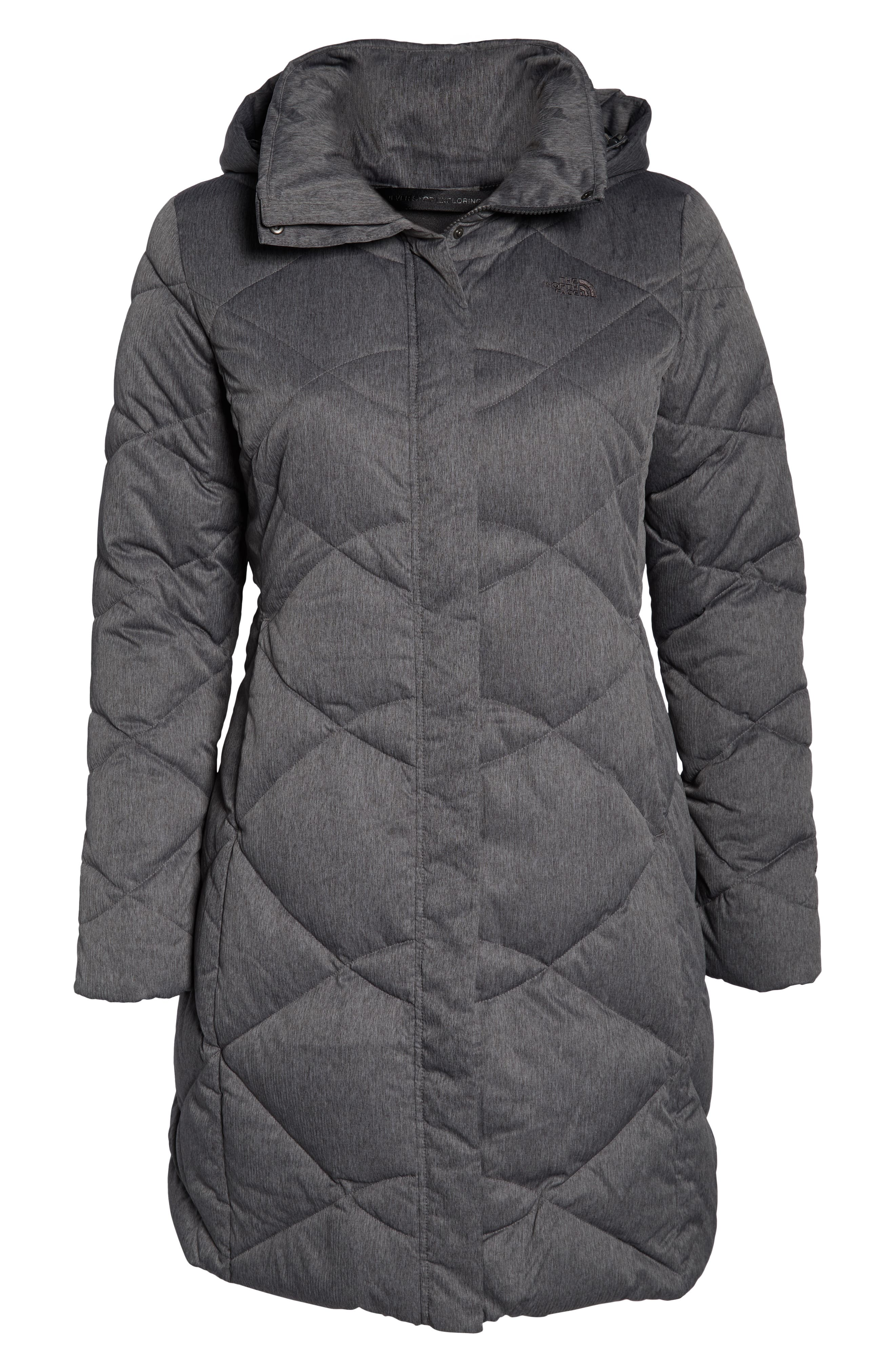 Miss Metro II Water Repellent 550 Fill Power Down Hooded Parka,                             Alternate thumbnail 12, color,                             TNF DARK GREY HEATHER