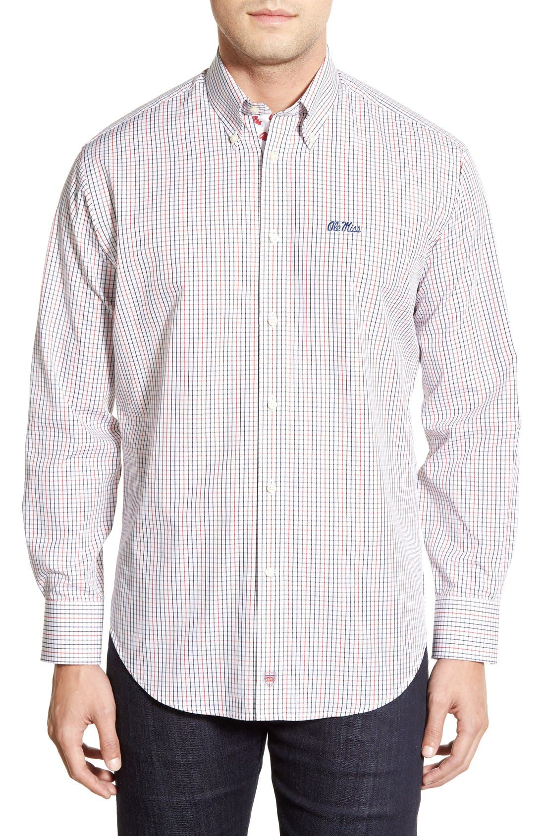 'Ole Miss Rebels' Regular Fit Long Sleeve Tattersall Sport Shirt,                             Main thumbnail 1, color,                             600