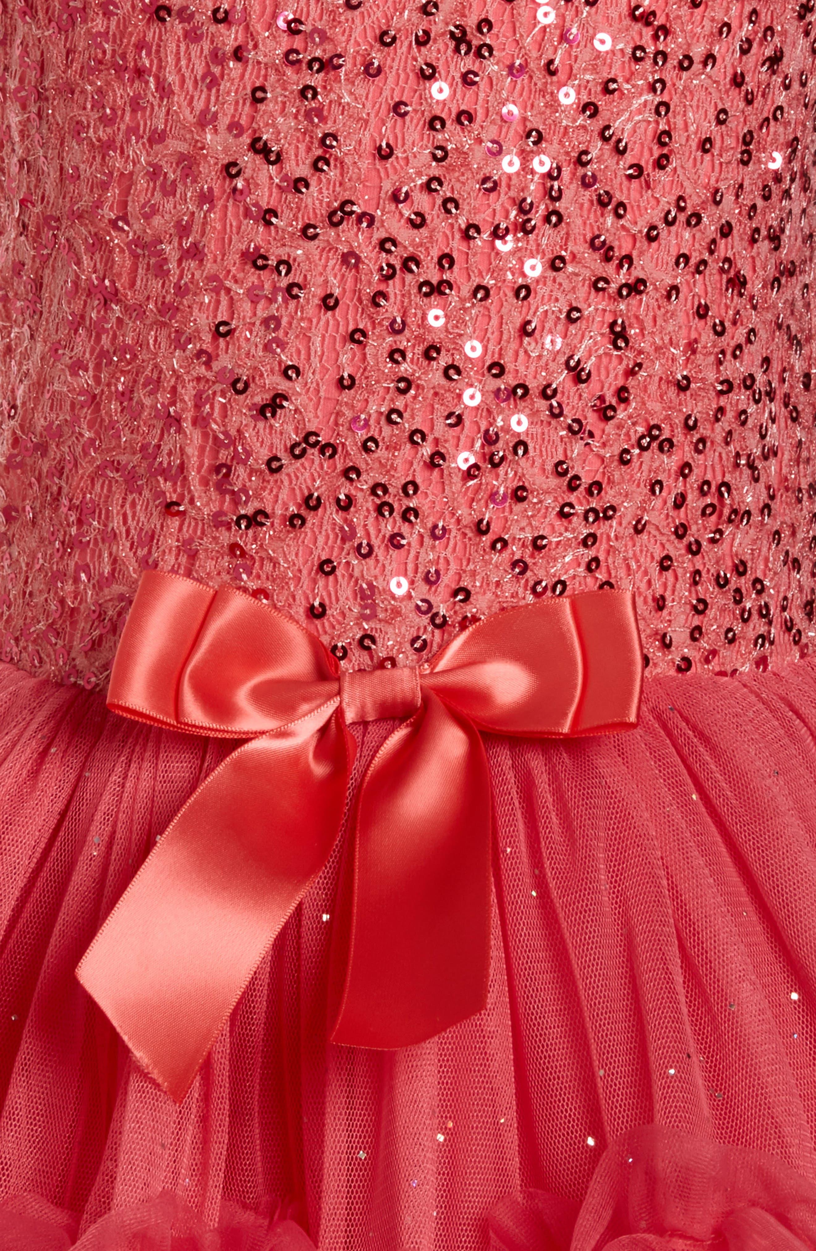 Sequin Sleeveless Dress,                             Alternate thumbnail 3, color,                             PEACH