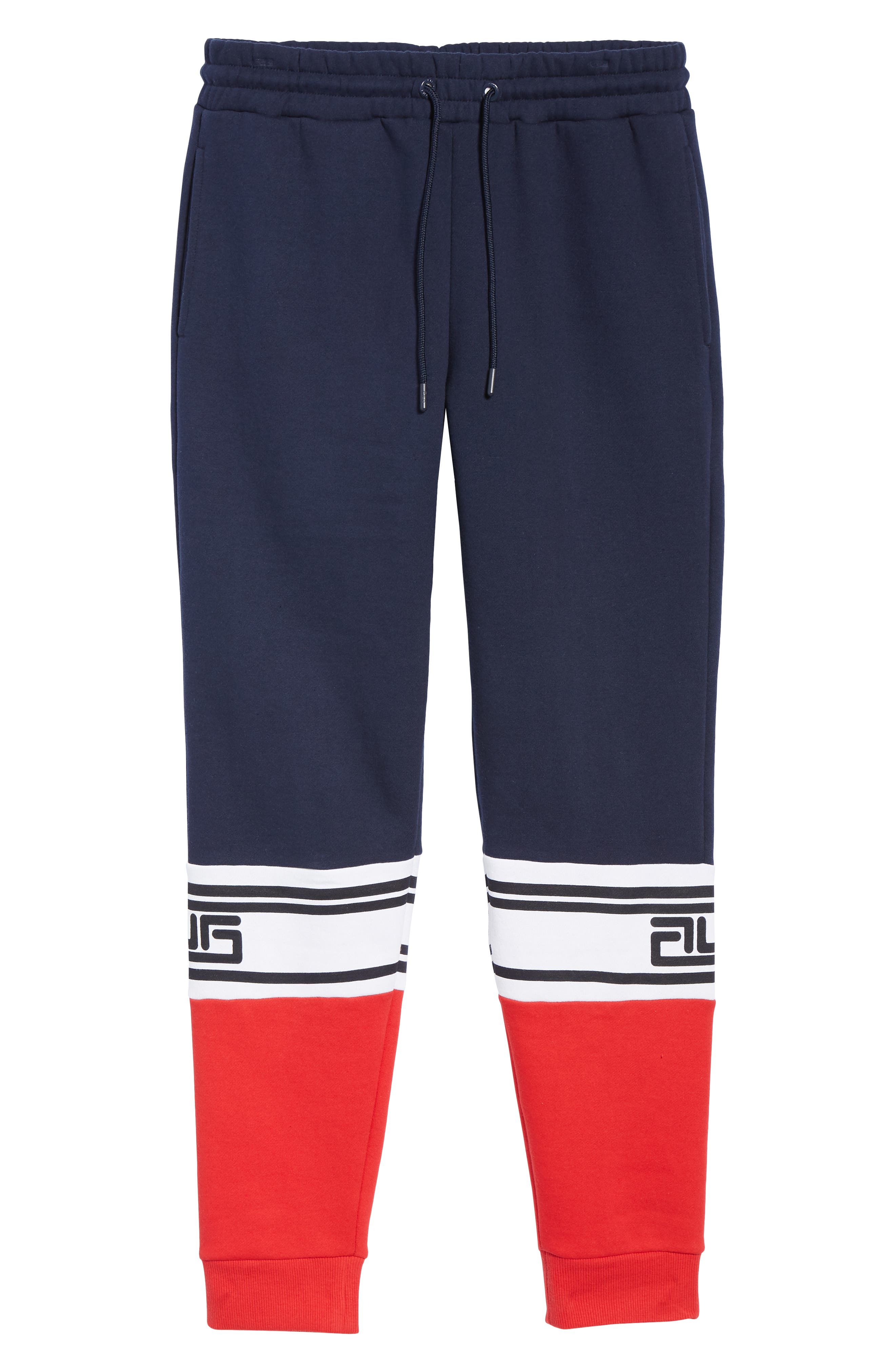 Tricolor Jogger Pants,                             Alternate thumbnail 6, color,                             PEACOAT/ CHINESE RED