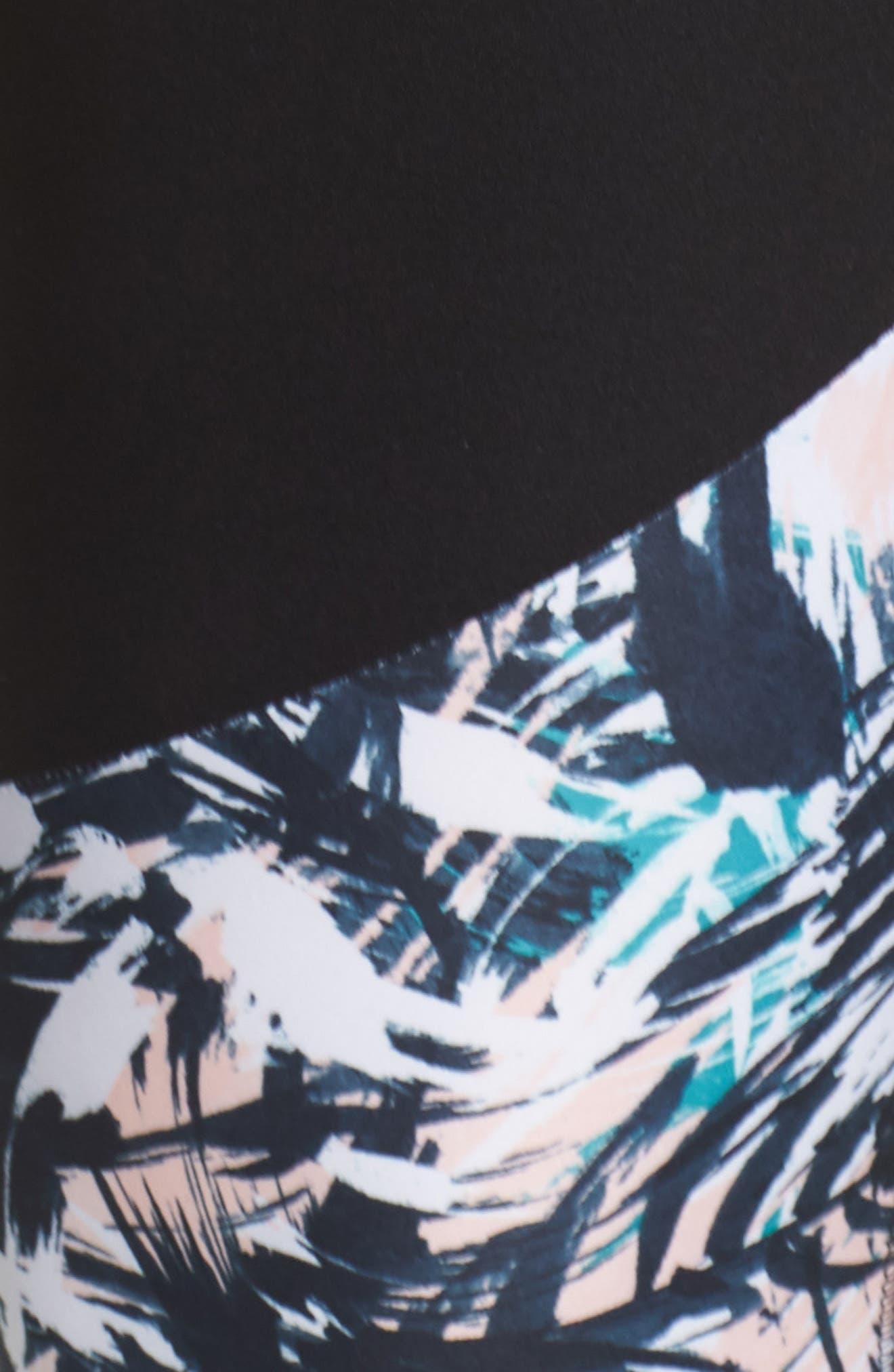 Kendall Invigorate Capri Leggings,                             Alternate thumbnail 6, color,                             BLACK/ BRUSHED PALMS