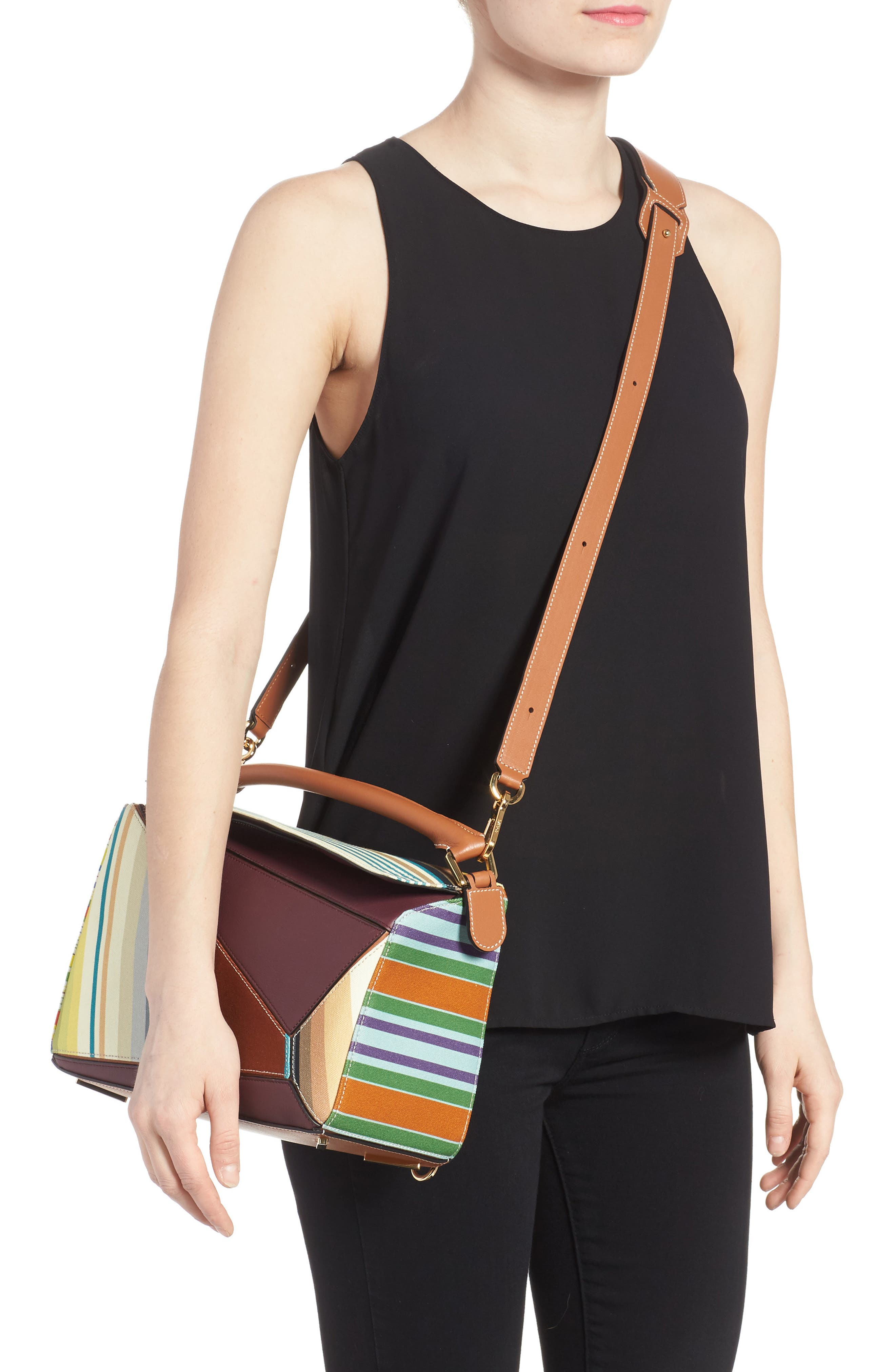 Medium Puzzle Stripe Canvas & Leather Shoulder Bag,                             Alternate thumbnail 2, color,