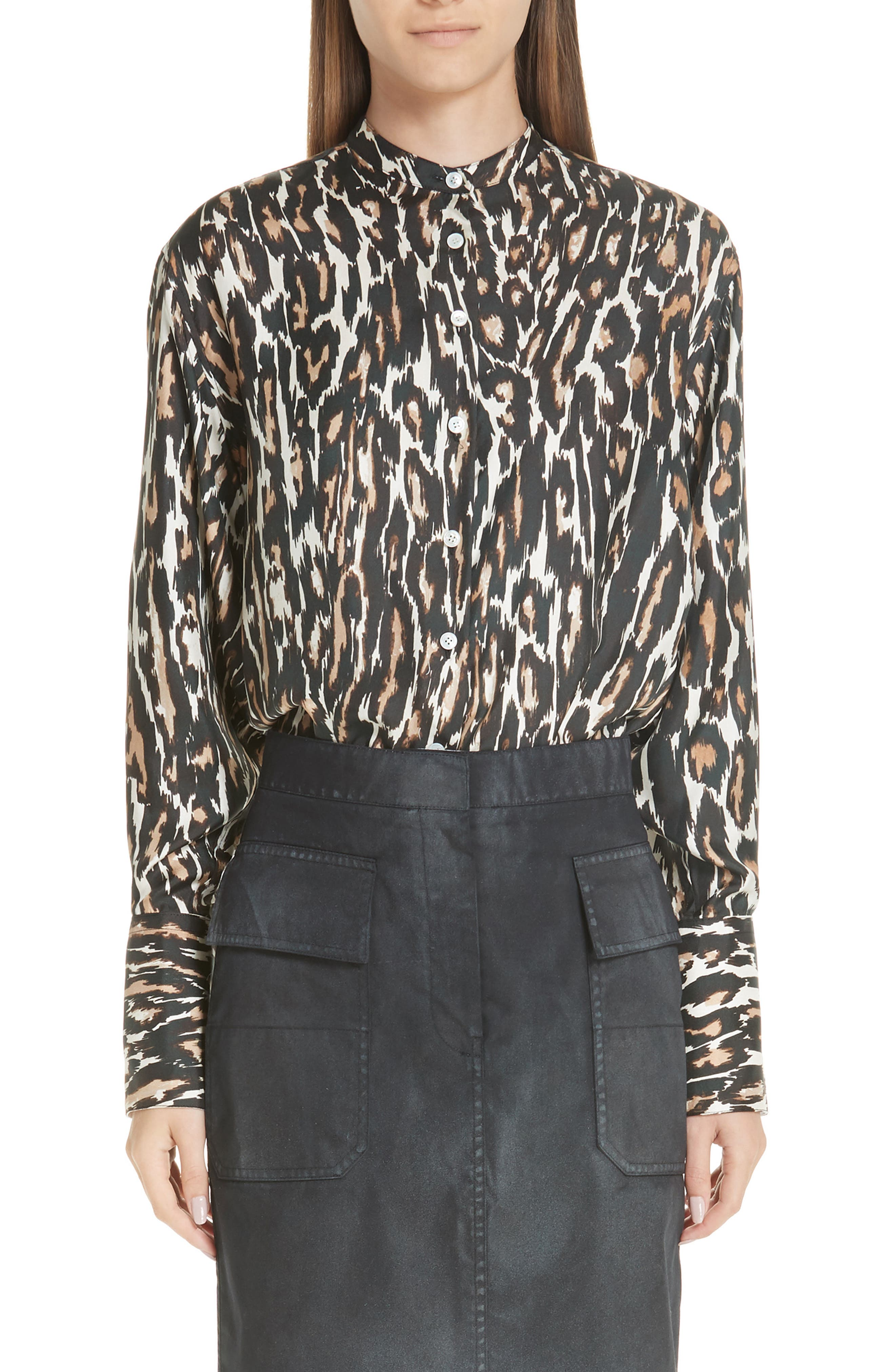 Leopard Print Silk Twill Blouse,                         Main,                         color, IVORY BROWN BLACK BEIGE