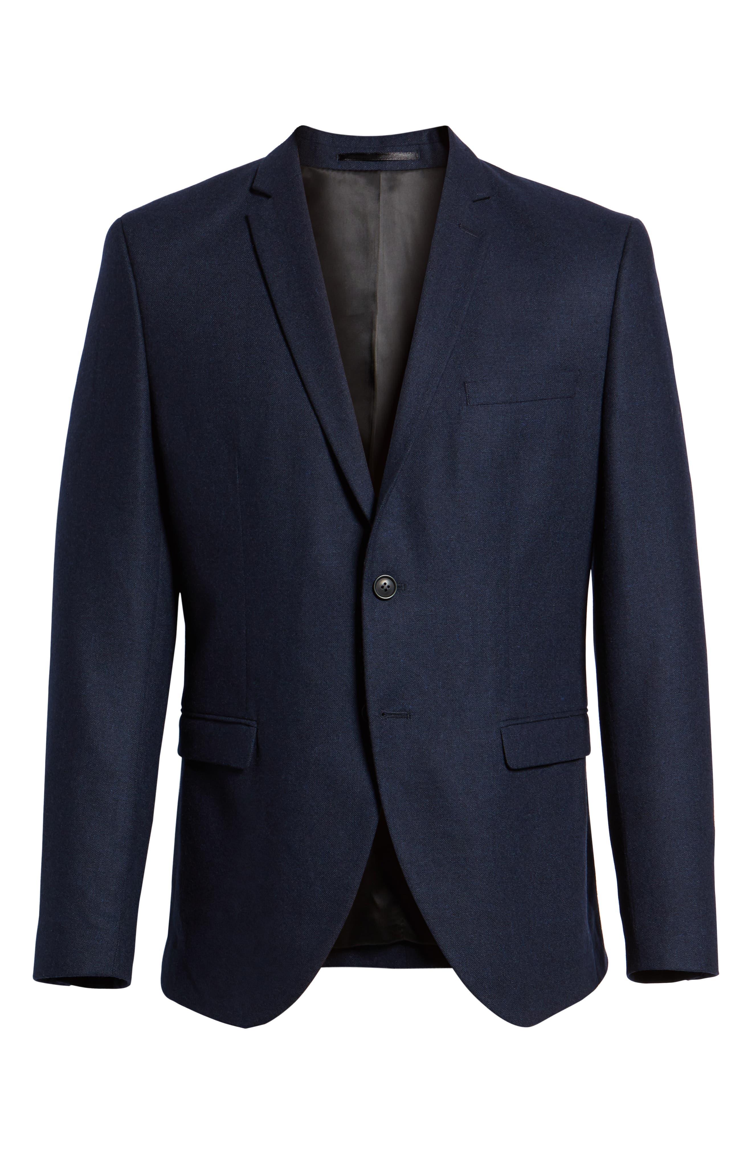 Myloiver Slim Fit Wool Blend Blazer,                             Alternate thumbnail 5, color,                             DARK NAVY