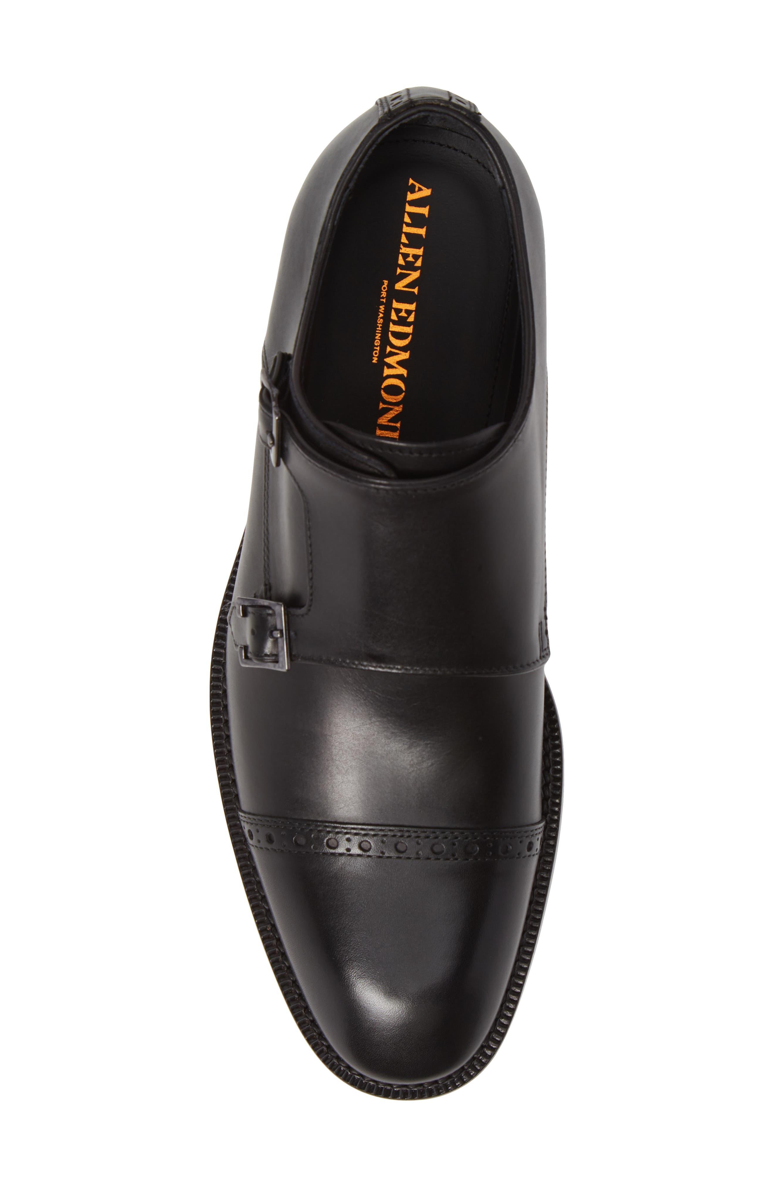 Caravaggio Double Monk Strap Shoe,                             Alternate thumbnail 5, color,                             BLACK LEATHER