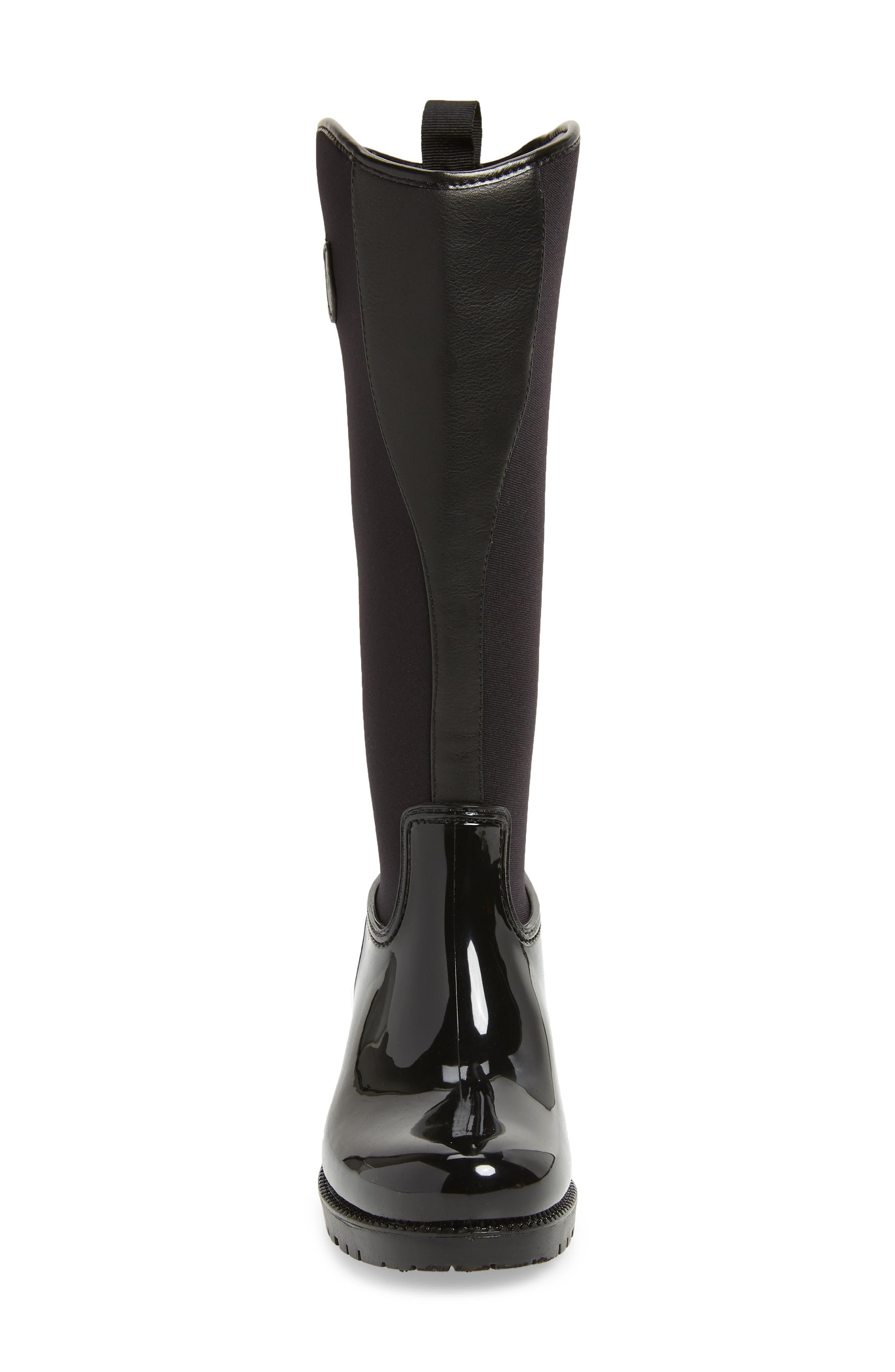 Parma 2 Tall Waterproof Rain Boot,                             Alternate thumbnail 4, color,                             BLACK FABRIC
