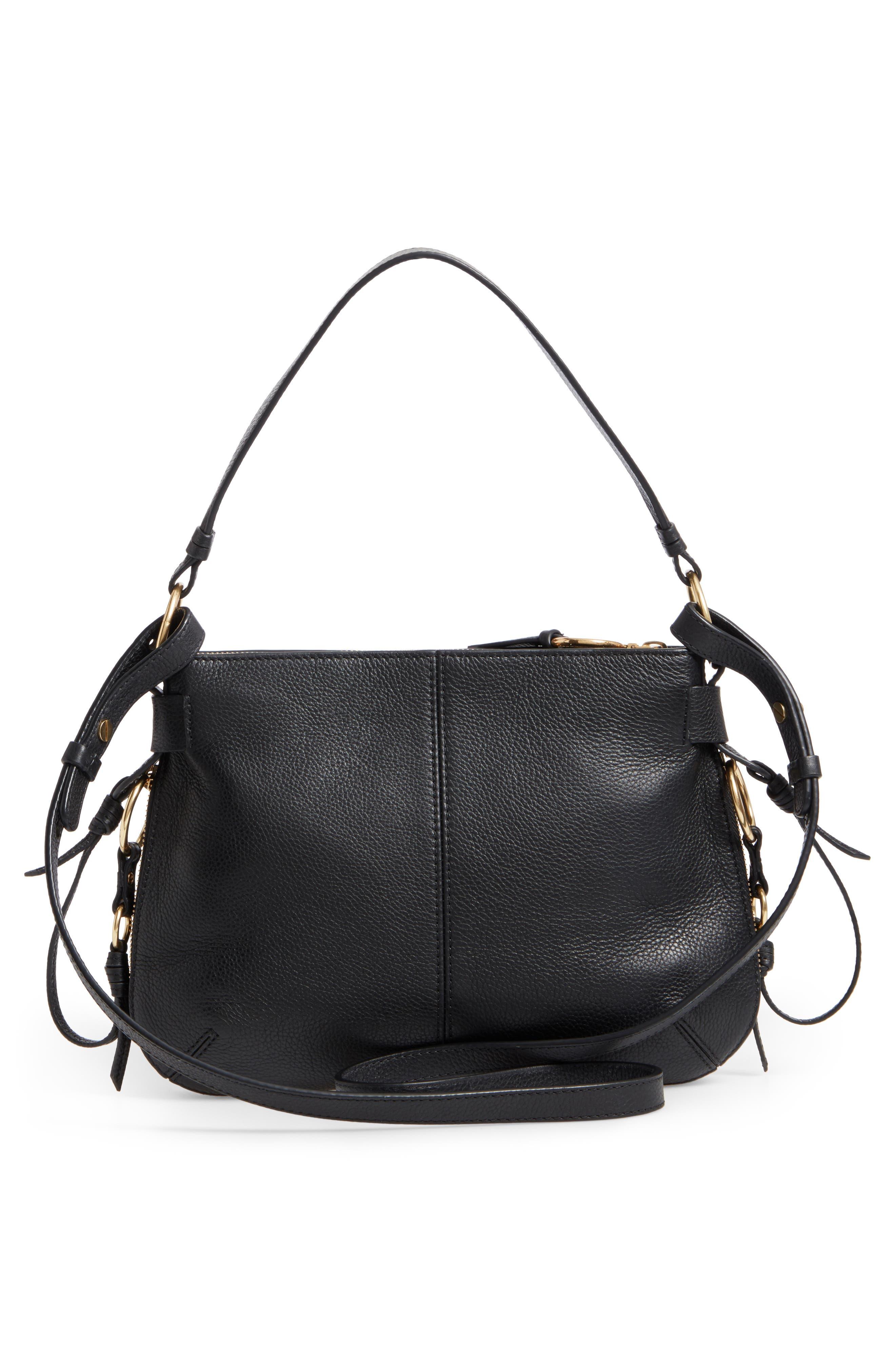 Leather Shoulder Bag,                             Alternate thumbnail 3, color,                             001