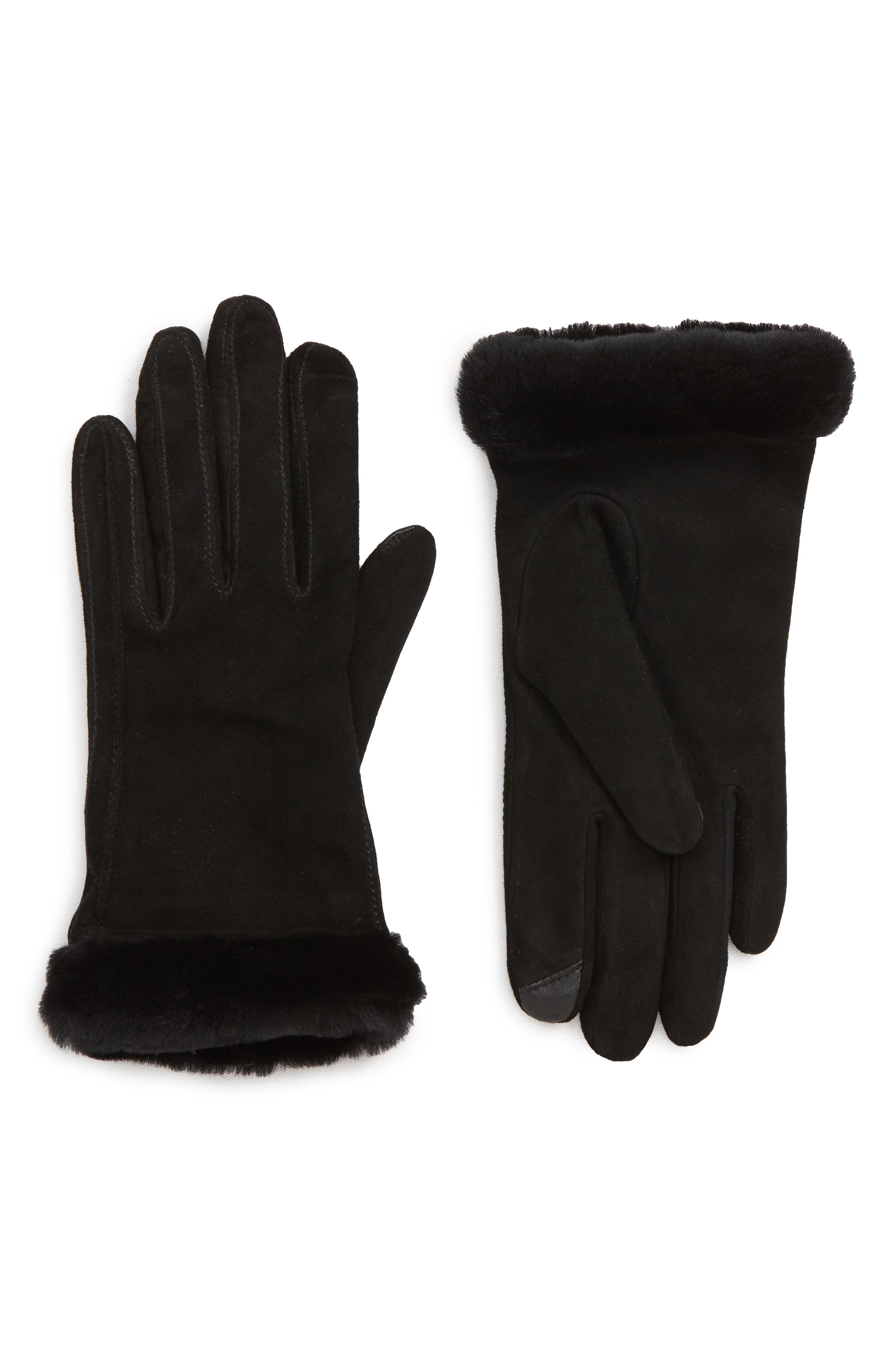 UGG<sup>®</sup> Classic Touchscreen Compatible Gloves with Genuine Shearling Trim,                             Main thumbnail 1, color,                             BLACK