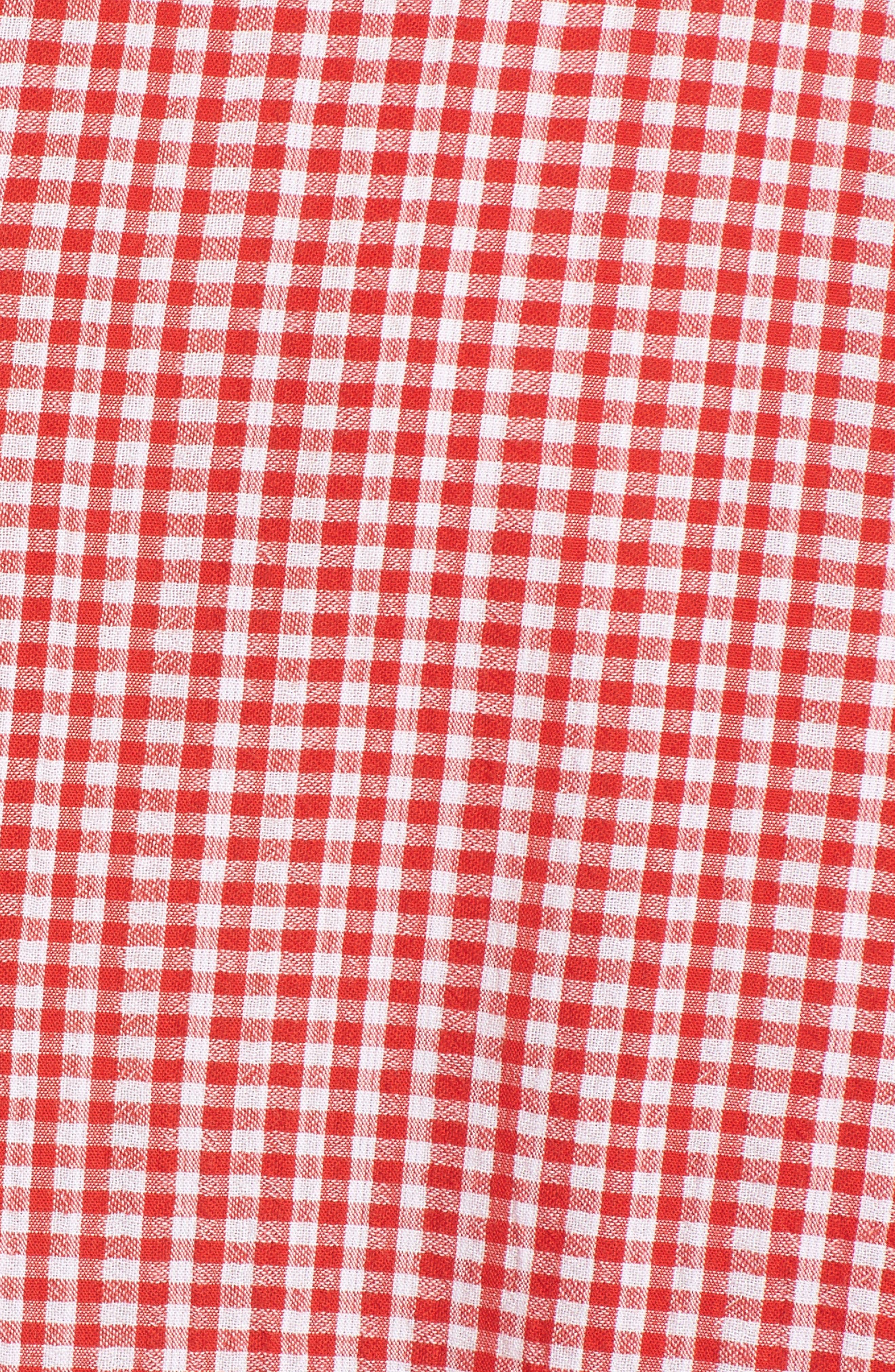 Asymmetrical Hem Gingham Blouse,                             Alternate thumbnail 6, color,                             601