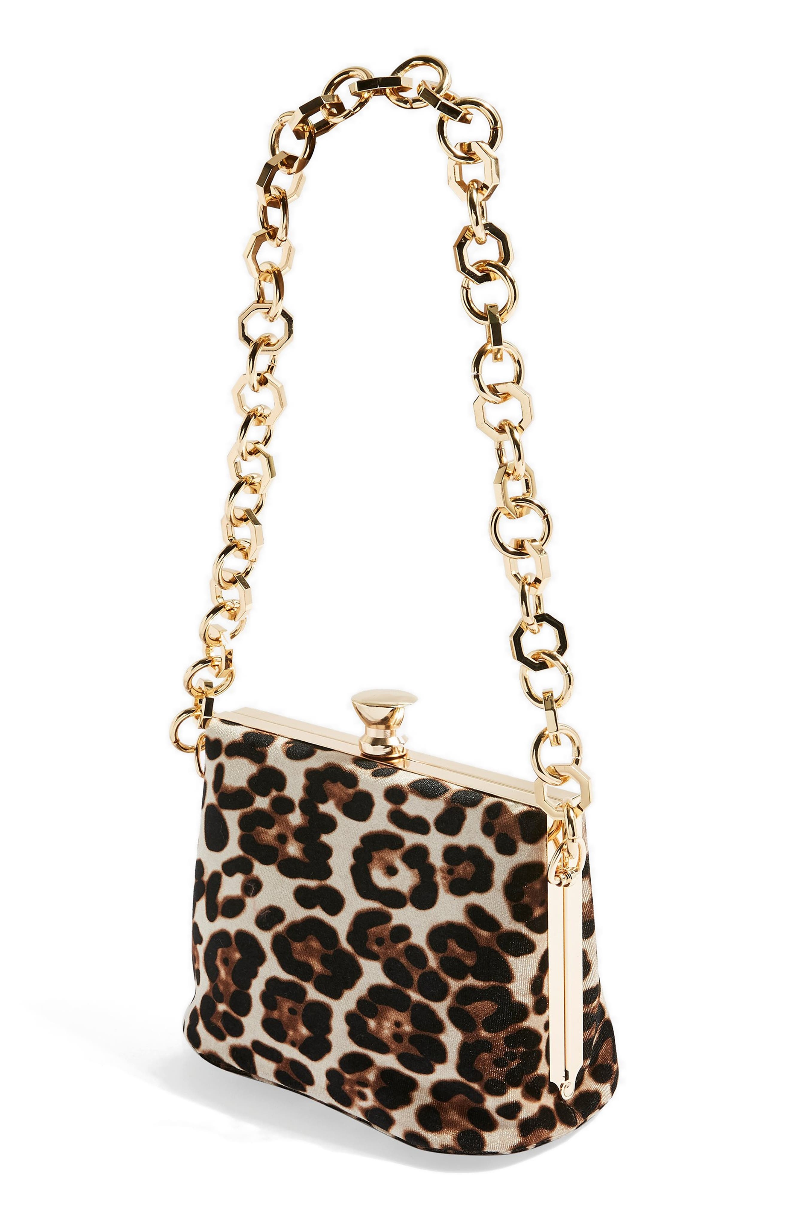 TOPSHOP,                             Margot Shoulder Bag,                             Alternate thumbnail 3, color,                             LEOPARD