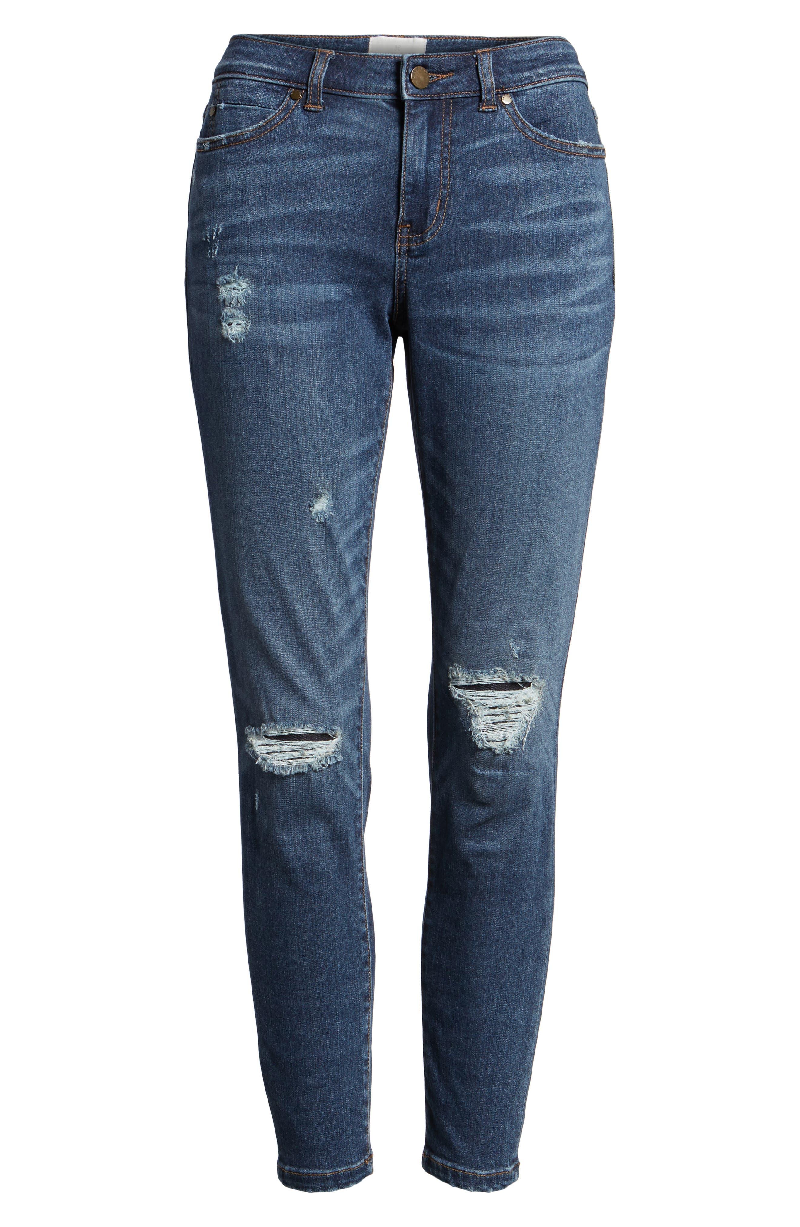 Rip & Repair Ankle Skinny Jeans,                             Alternate thumbnail 6, color,                             420