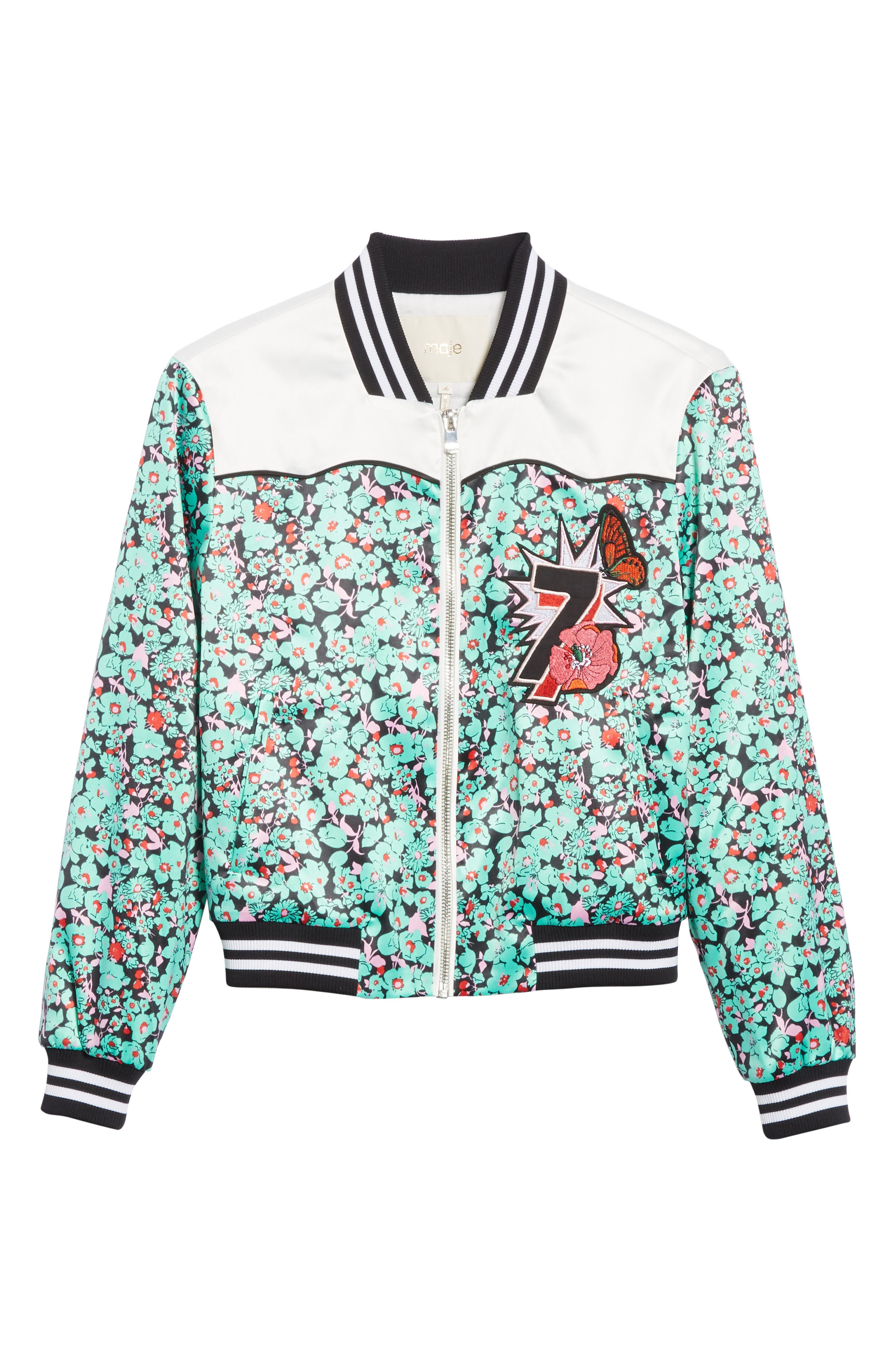 Bert Floral Bomber Jacket,                             Alternate thumbnail 5, color,
