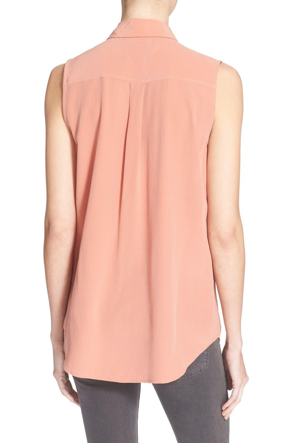 'Slim Signature' Sleeveless Silk Shirt,                             Alternate thumbnail 187, color,