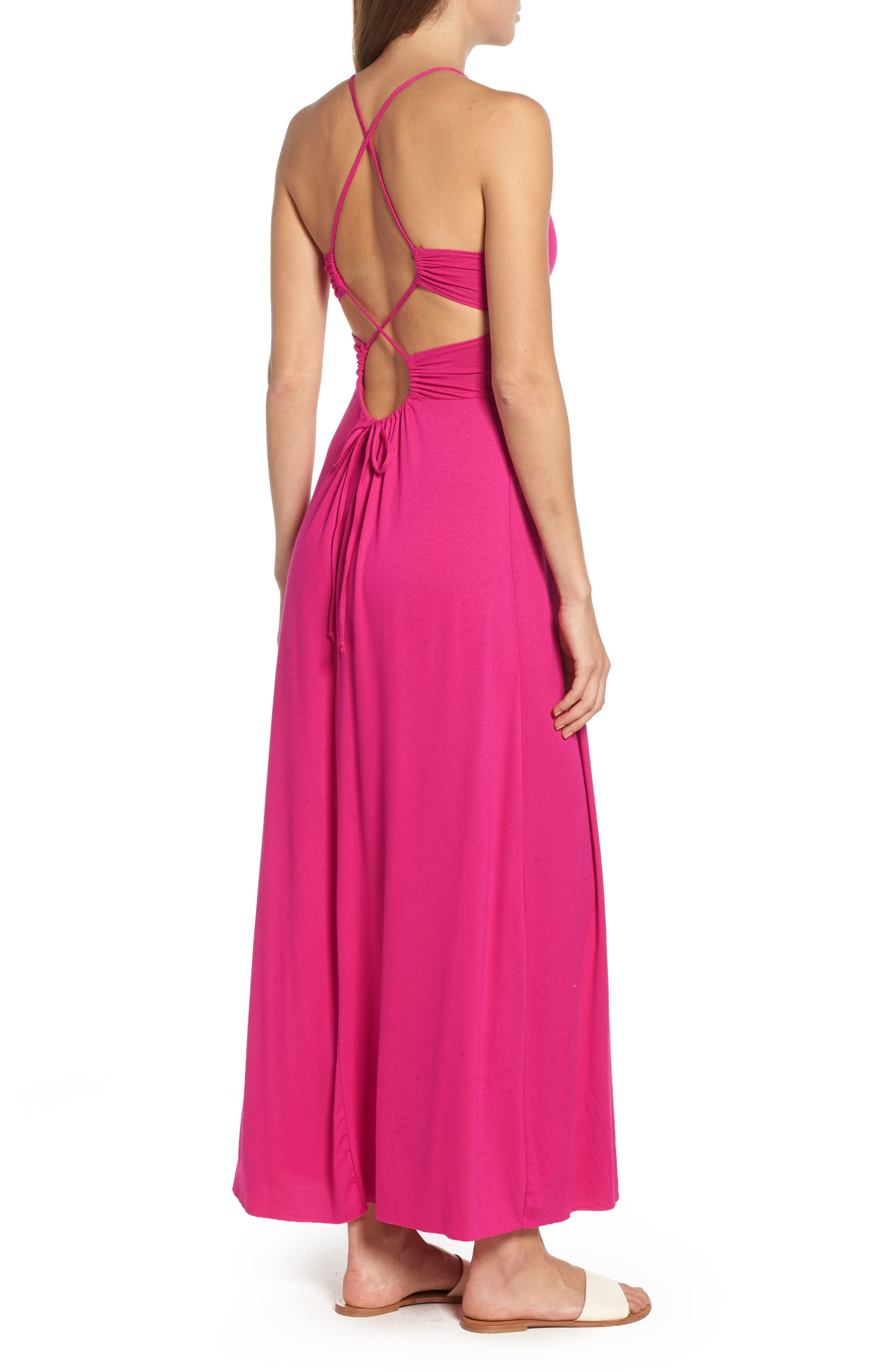 Strappy Back Maxi Dress,                             Alternate thumbnail 2, color,
