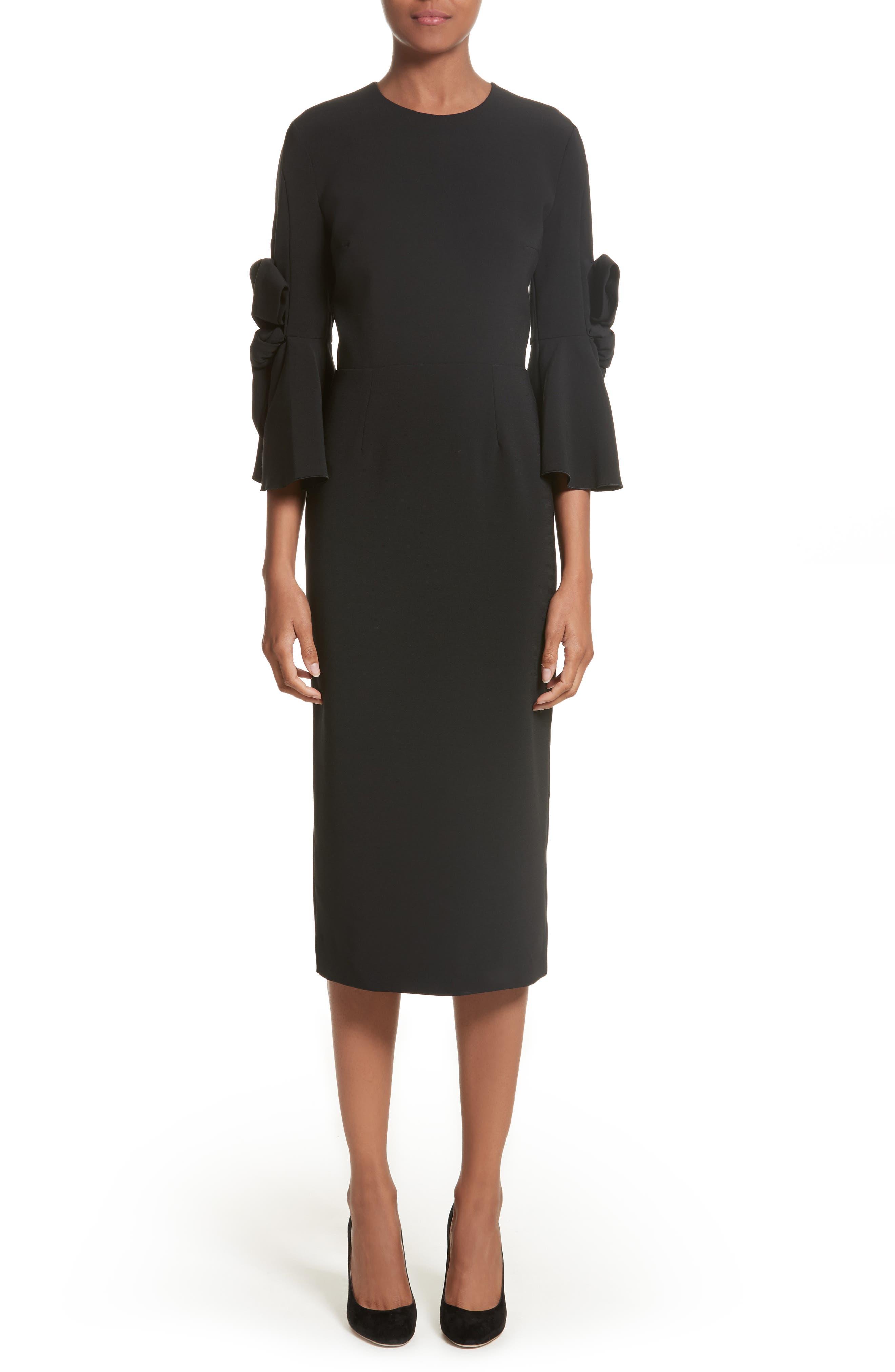 Lavete Stretch Crepe Midi Dress,                             Main thumbnail 1, color,                             BLACK