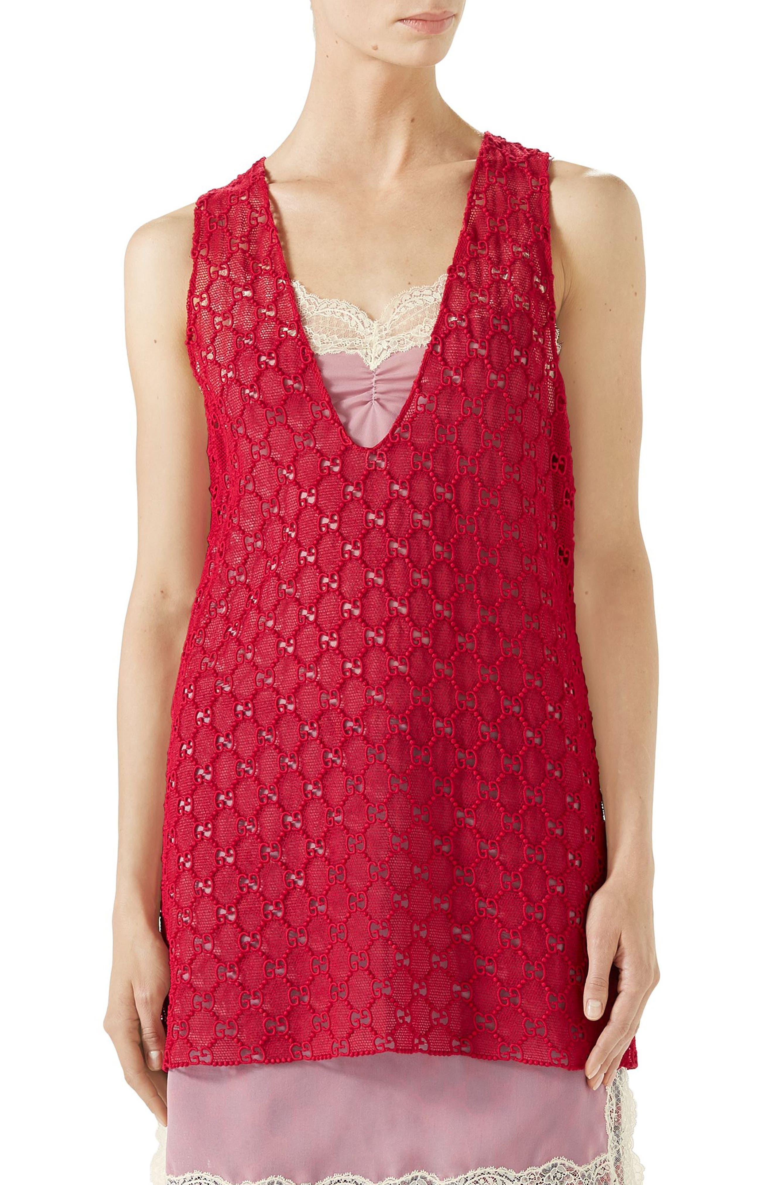 GG Macramé Top,                         Main,                         color, HEATHER RED/ ORTENSIA