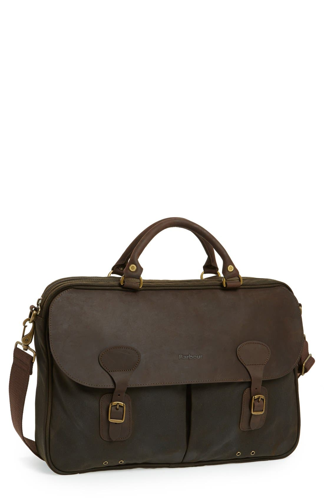 Waxed Canvas Briefcase,                             Main thumbnail 1, color,                             OLIVE/ BROWN