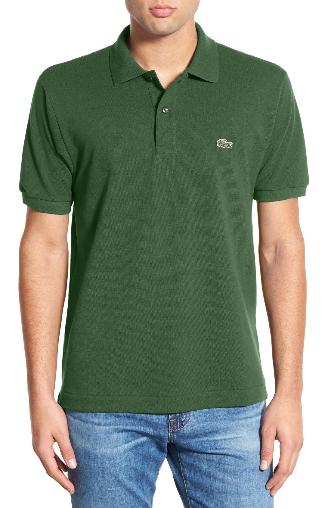 LACOSTE Short Sleeve Pique Polo Shirt - Classic Fit in Cactus Green