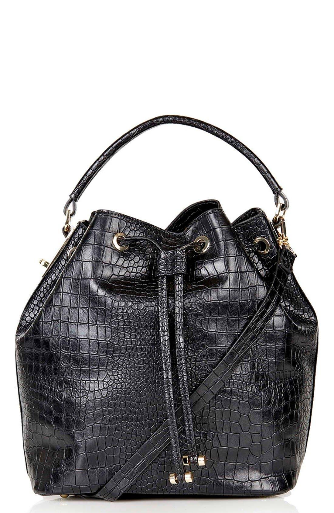 Croc Embossed Bucket Bag,                             Main thumbnail 1, color,                             001