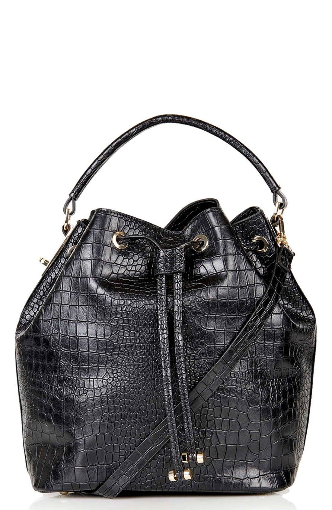 Croc Embossed Bucket Bag,                         Main,                         color, 001
