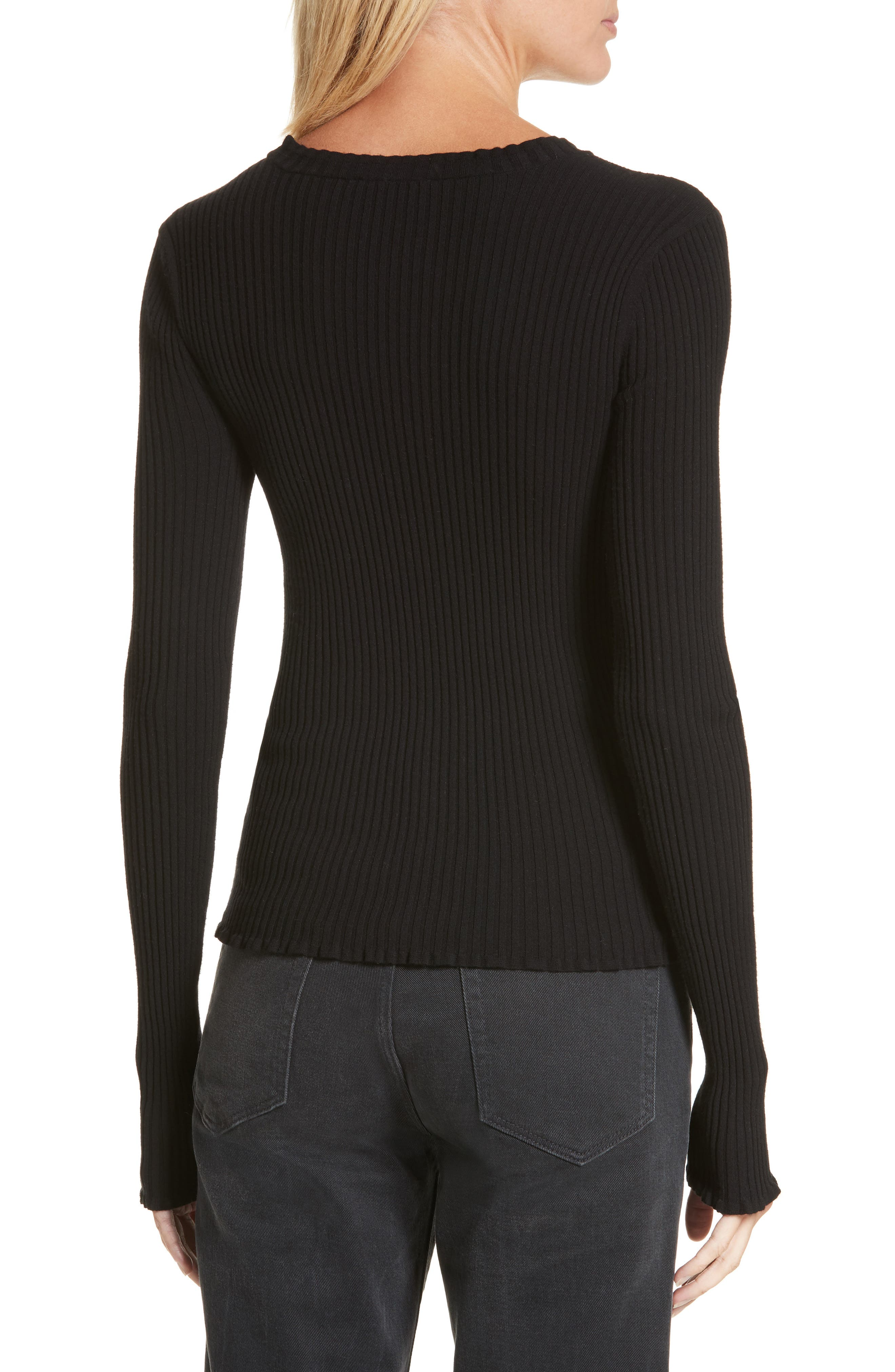 Rib Knit Scoop Neck Sweater,                             Alternate thumbnail 2, color,                             001