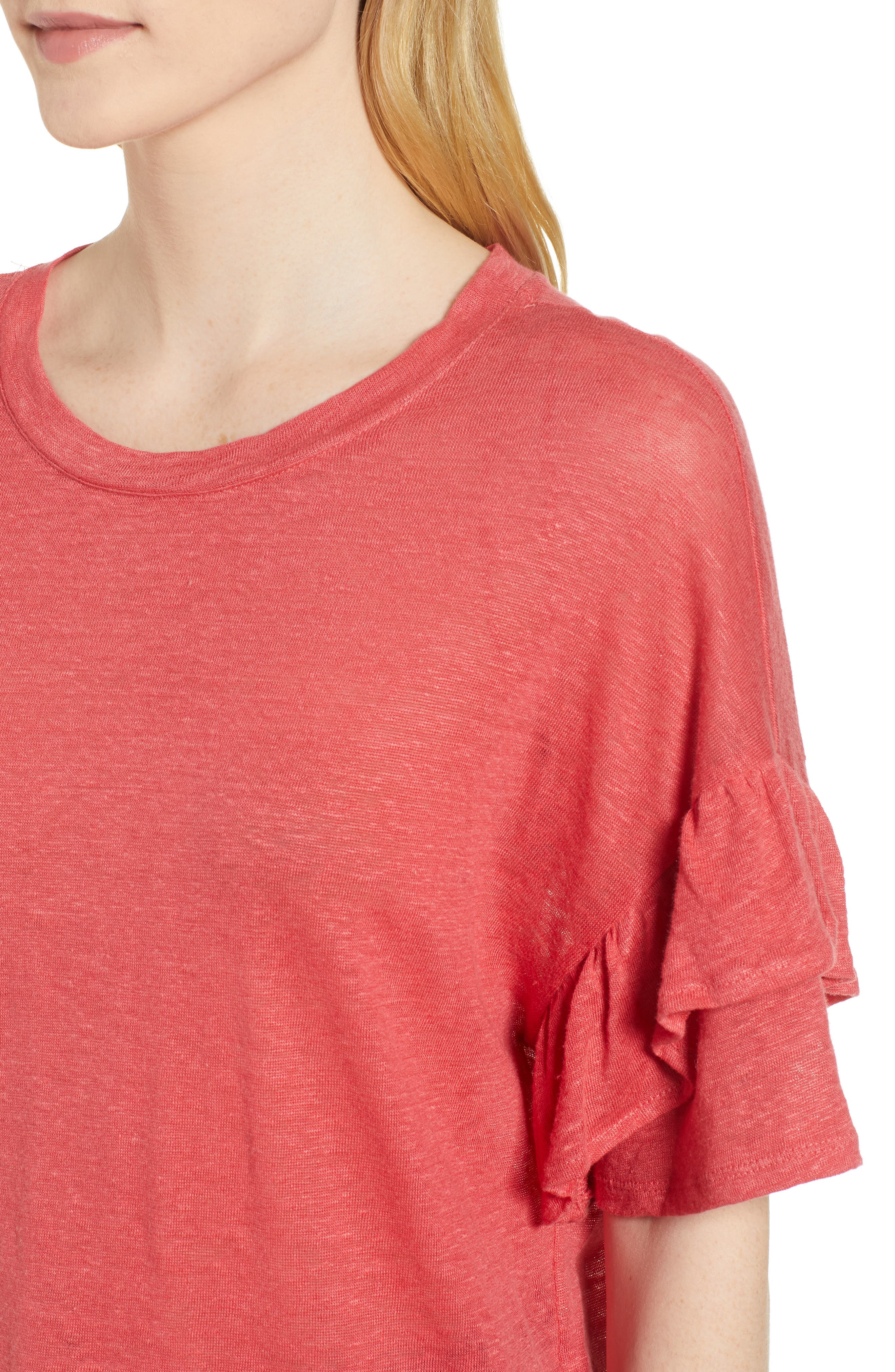 Ruffle Linen Tee,                             Alternate thumbnail 4, color,                             DARK CORAL REEF