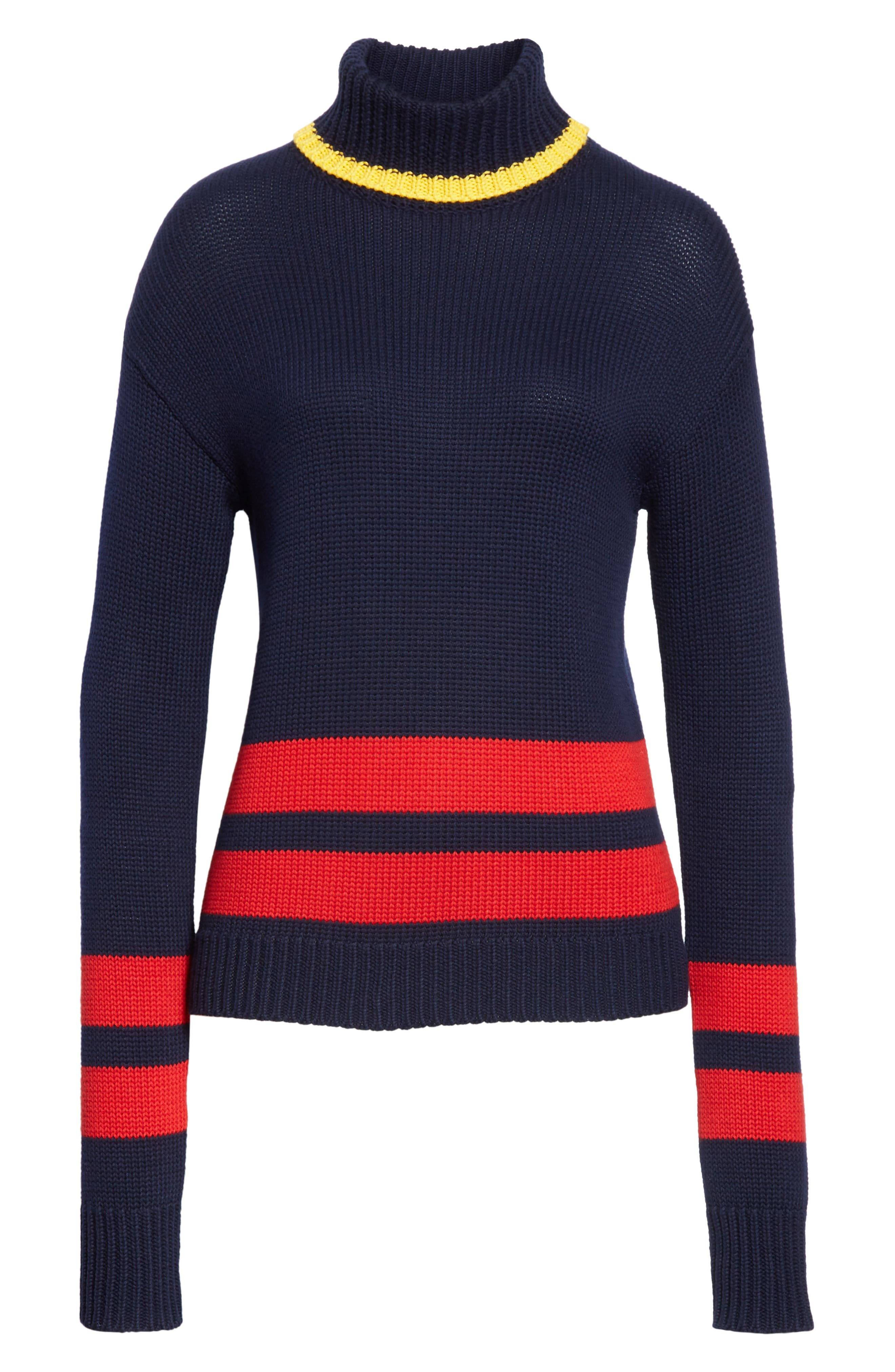 Double Stripe Sweater,                             Alternate thumbnail 6, color,                             NAVY/ RED/ GOLD