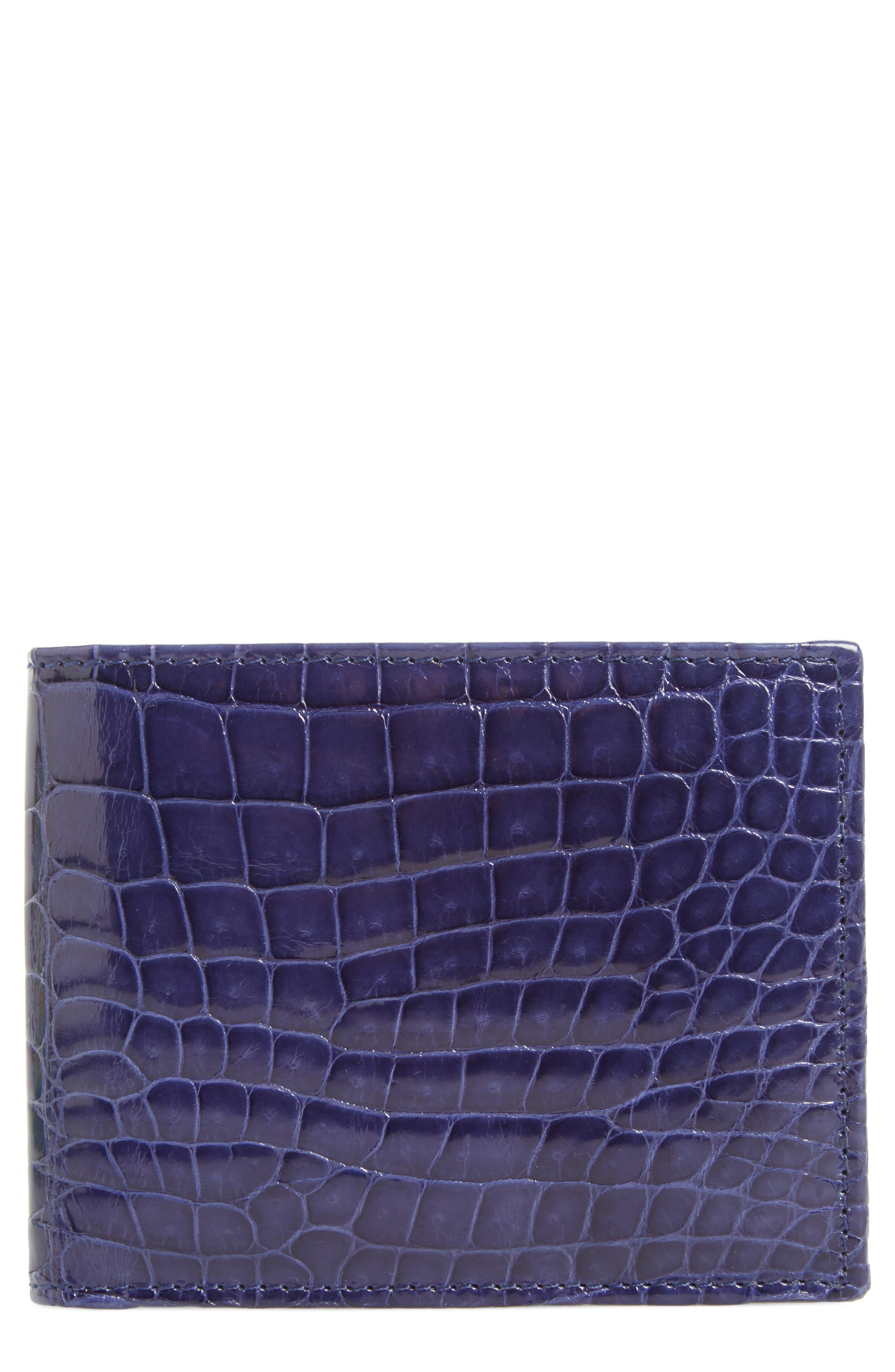 MEZLAN Alligator Leather Bifold Wallet, Main, color, JEANS