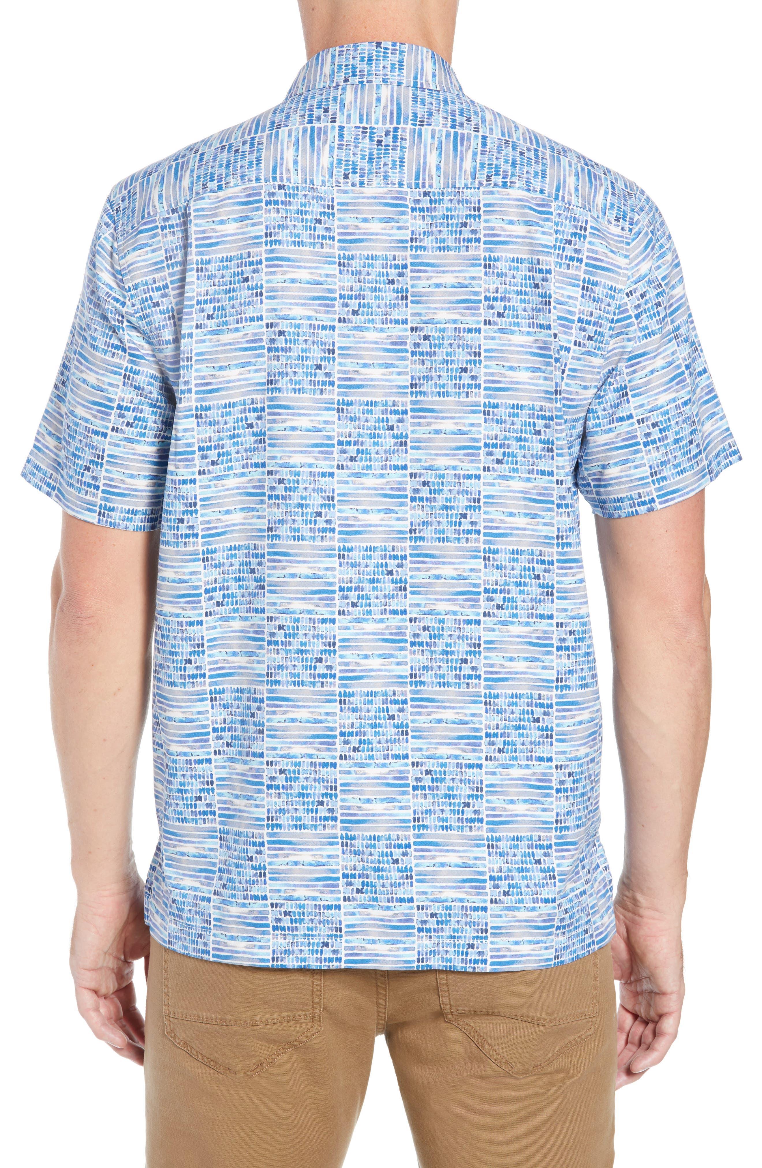 Rio Geo Short Sleeve Silk Blend Sport Shirt,                             Alternate thumbnail 3, color,                             AQUA ICE