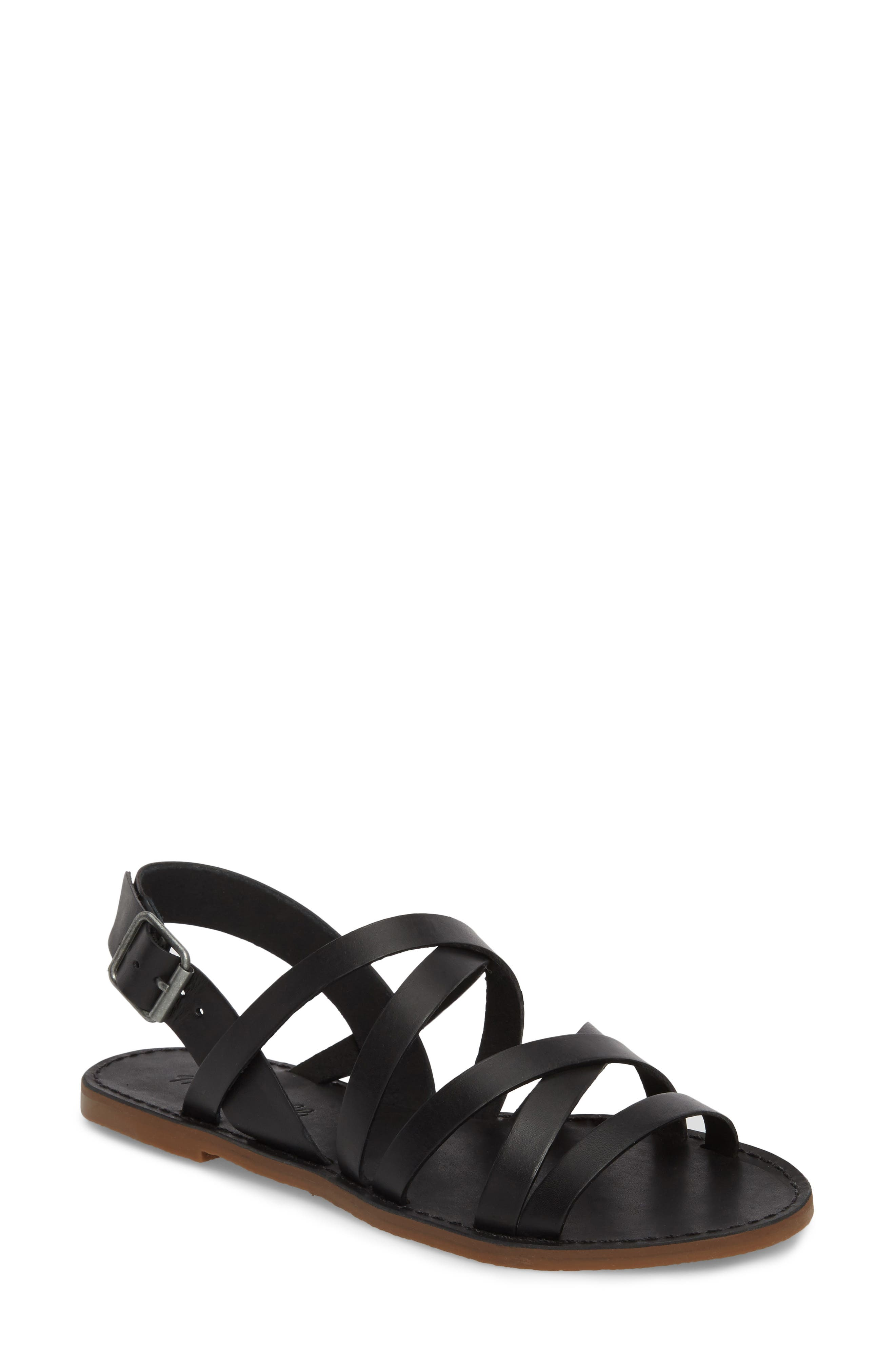 The Boardwalk Multistrap Sandal,                         Main,                         color, TRUE BLACK LEATHER